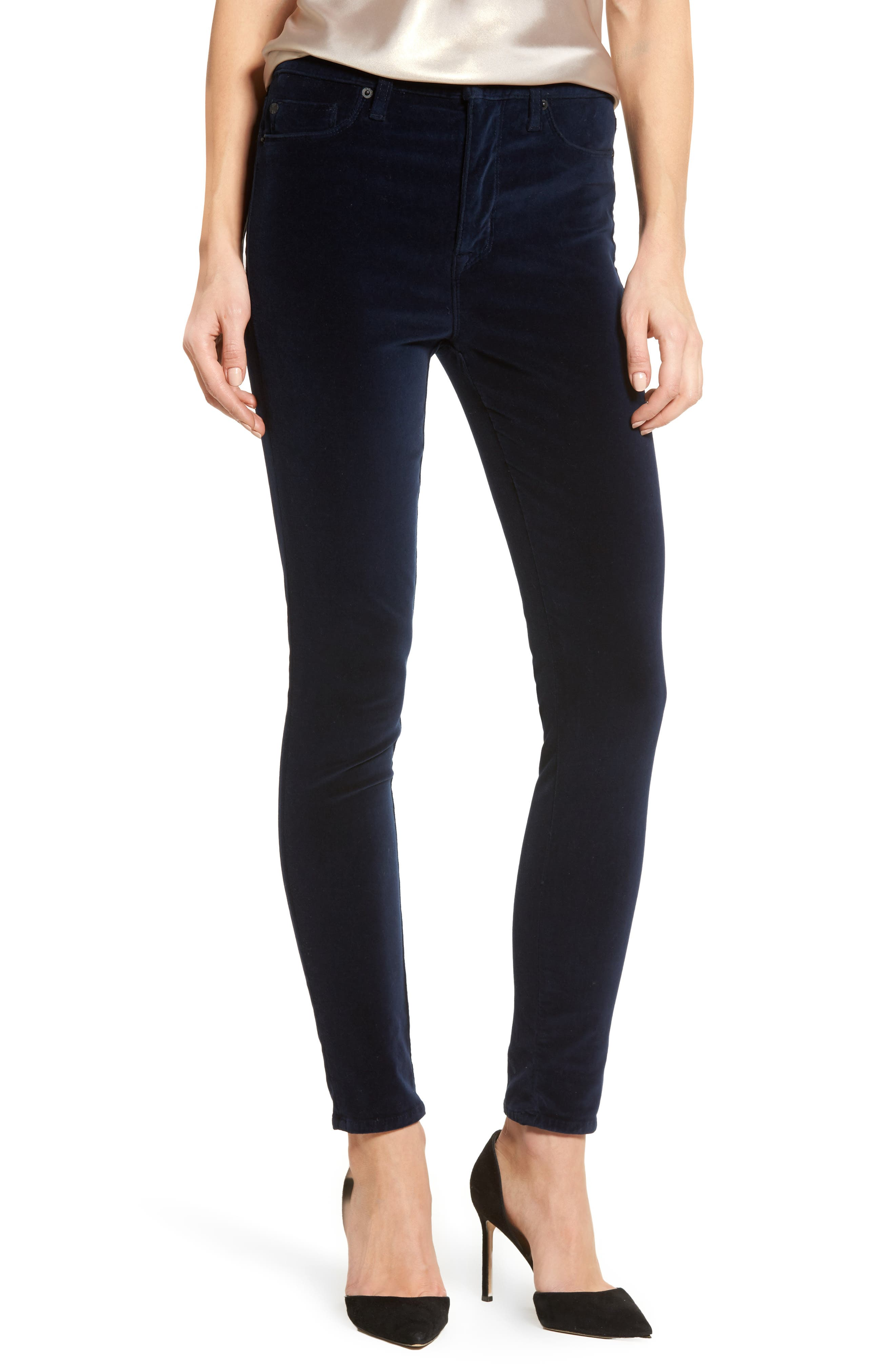 Barbara High Waist Ankle Super Skinny Jeans,                         Main,                         color, Dark Obsidian