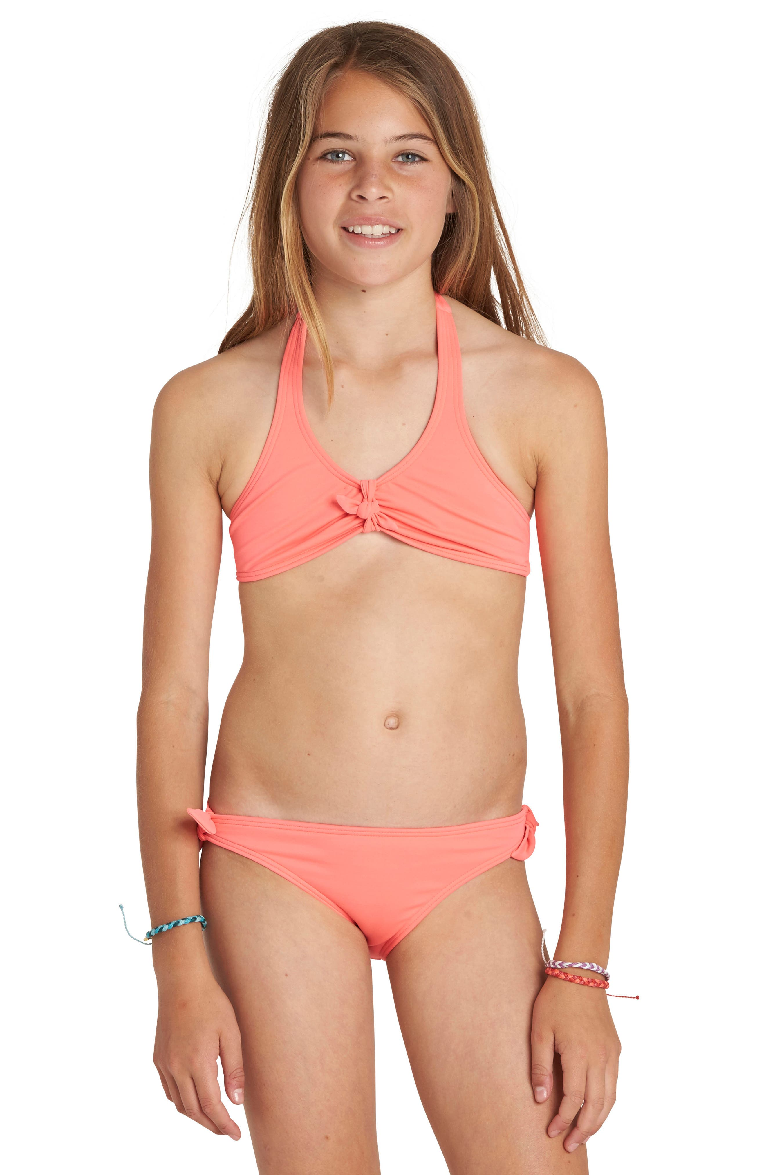 Sol Searcher Two-Piece Halter Swimsuit,                         Main,                         color, Neon Coral