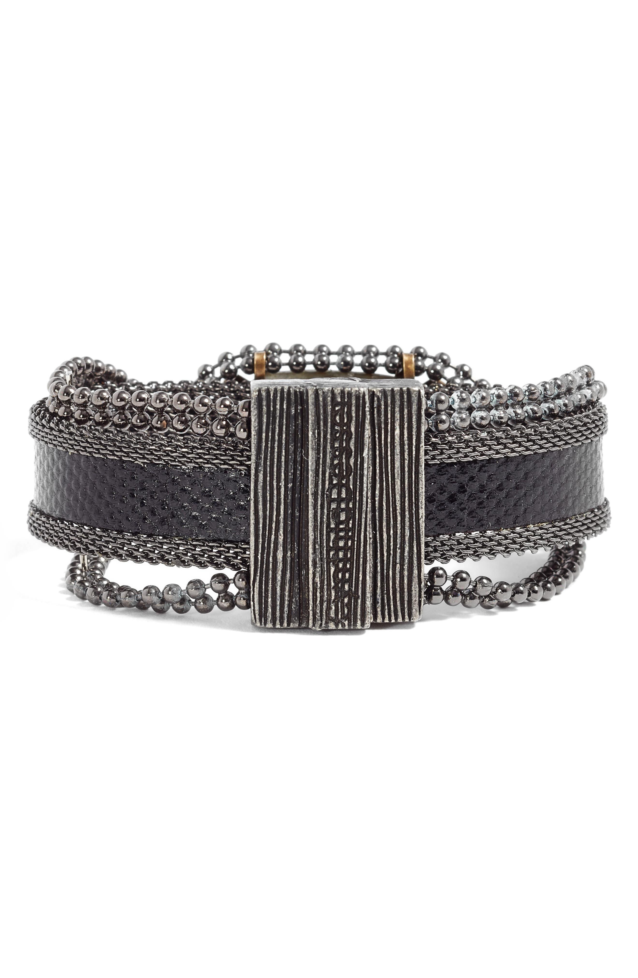 Stone & Snakeskin Bracelet,                             Alternate thumbnail 3, color,                             Black/ Bronze/ Gunmetal