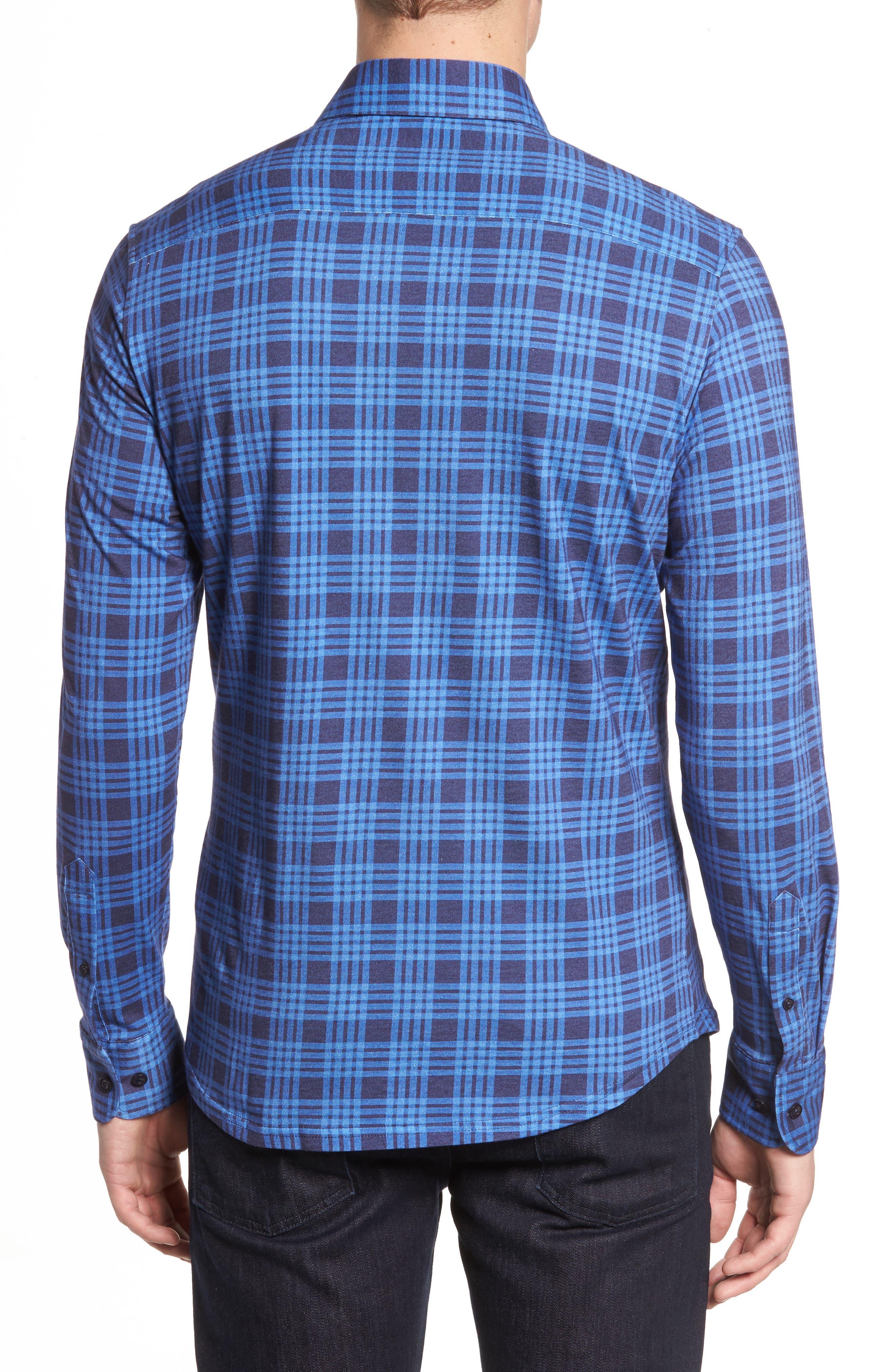 Slim Fit Plaid Knit Sport Shirt,                             Alternate thumbnail 2, color,                             Navy