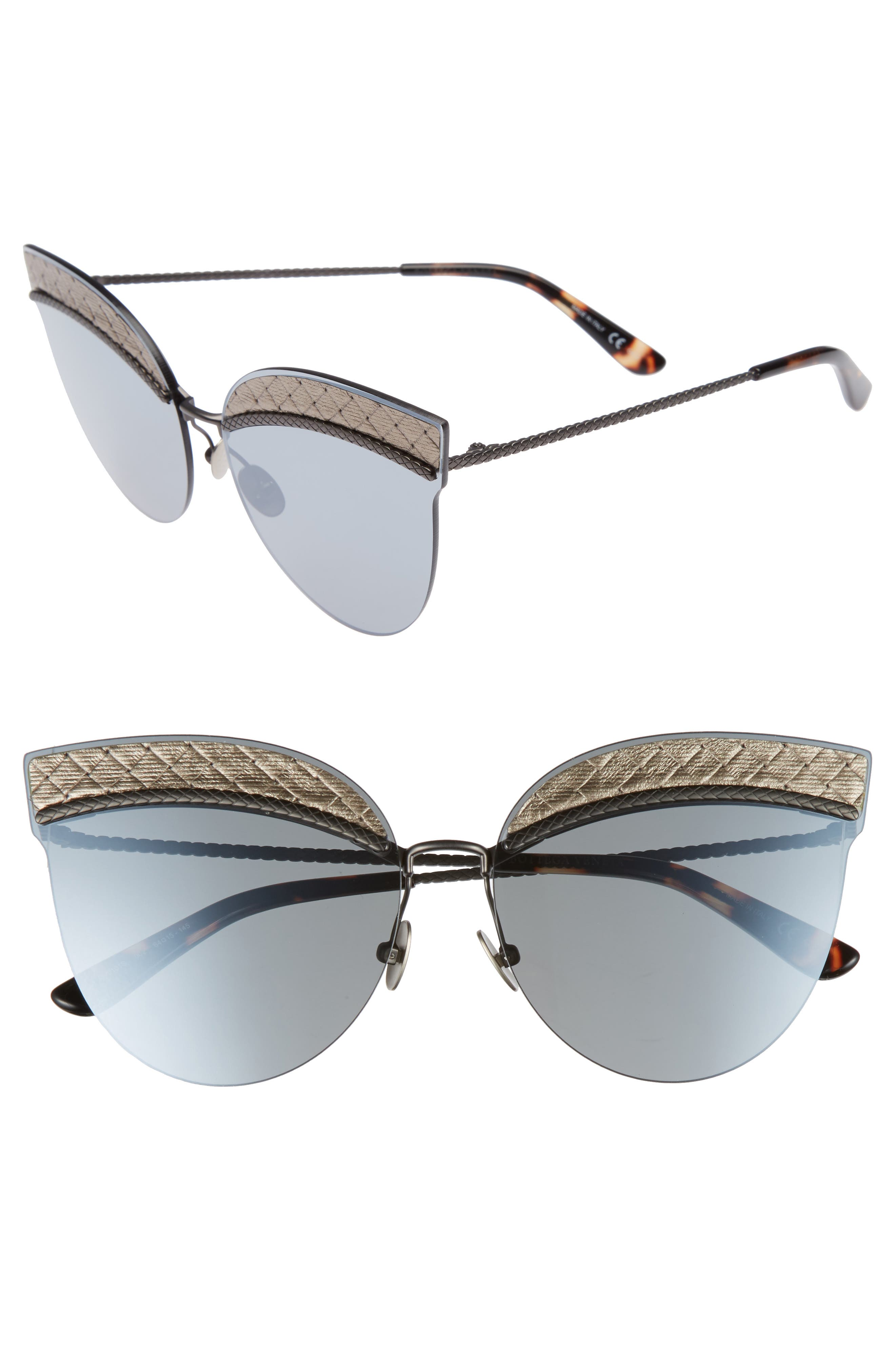 Bottega Veneta 64mm Semi-Rimless Cat Eye Sunglasses