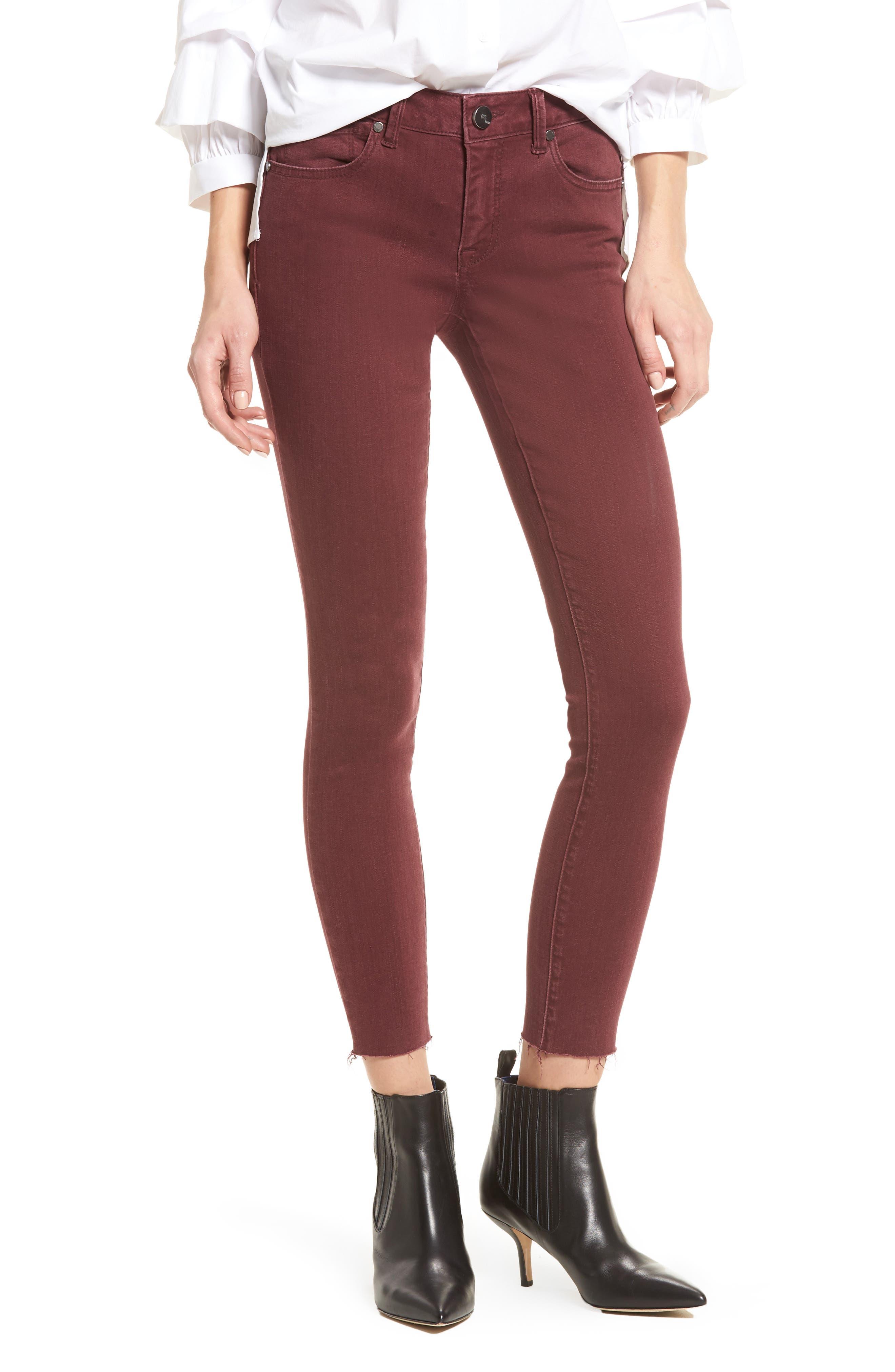 Raw Hem Skinny Jeans,                             Main thumbnail 1, color,                             Rumba Red