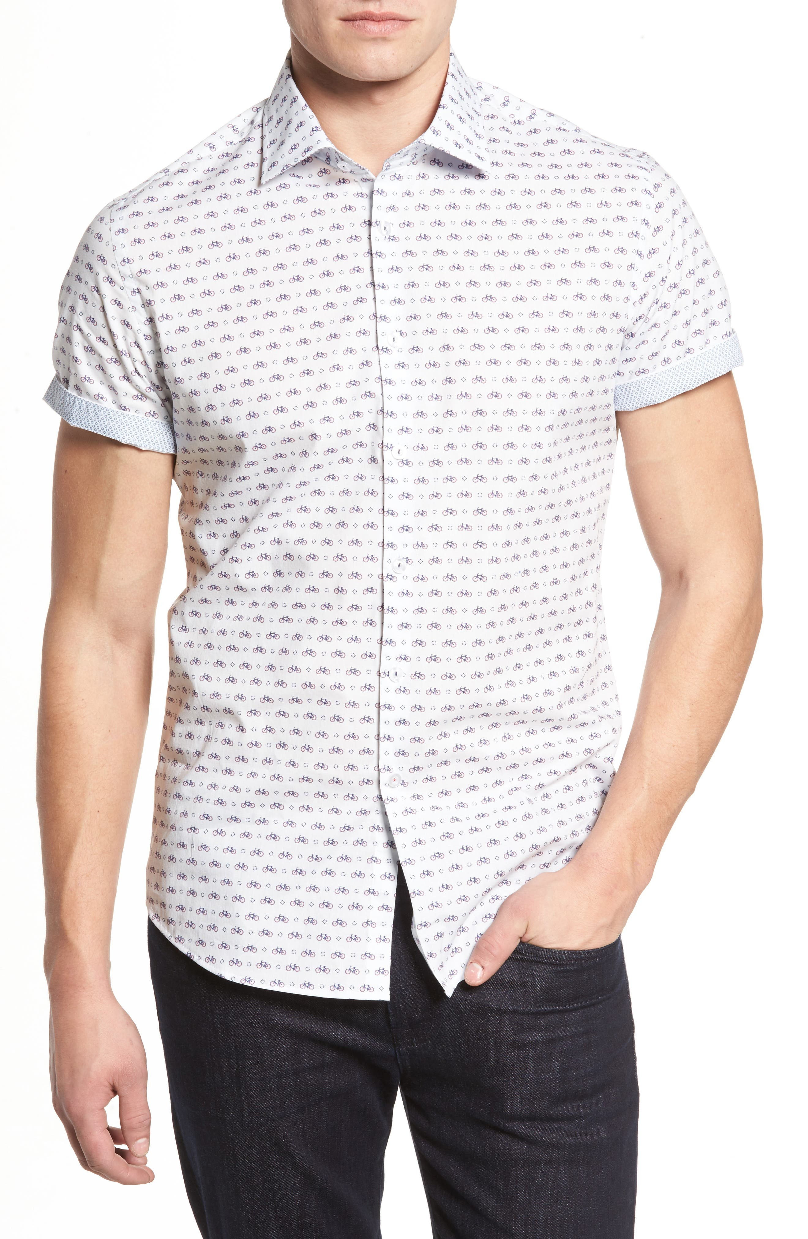 Slim Fit Bicycle Print Sport Shirt,                             Main thumbnail 1, color,                             White