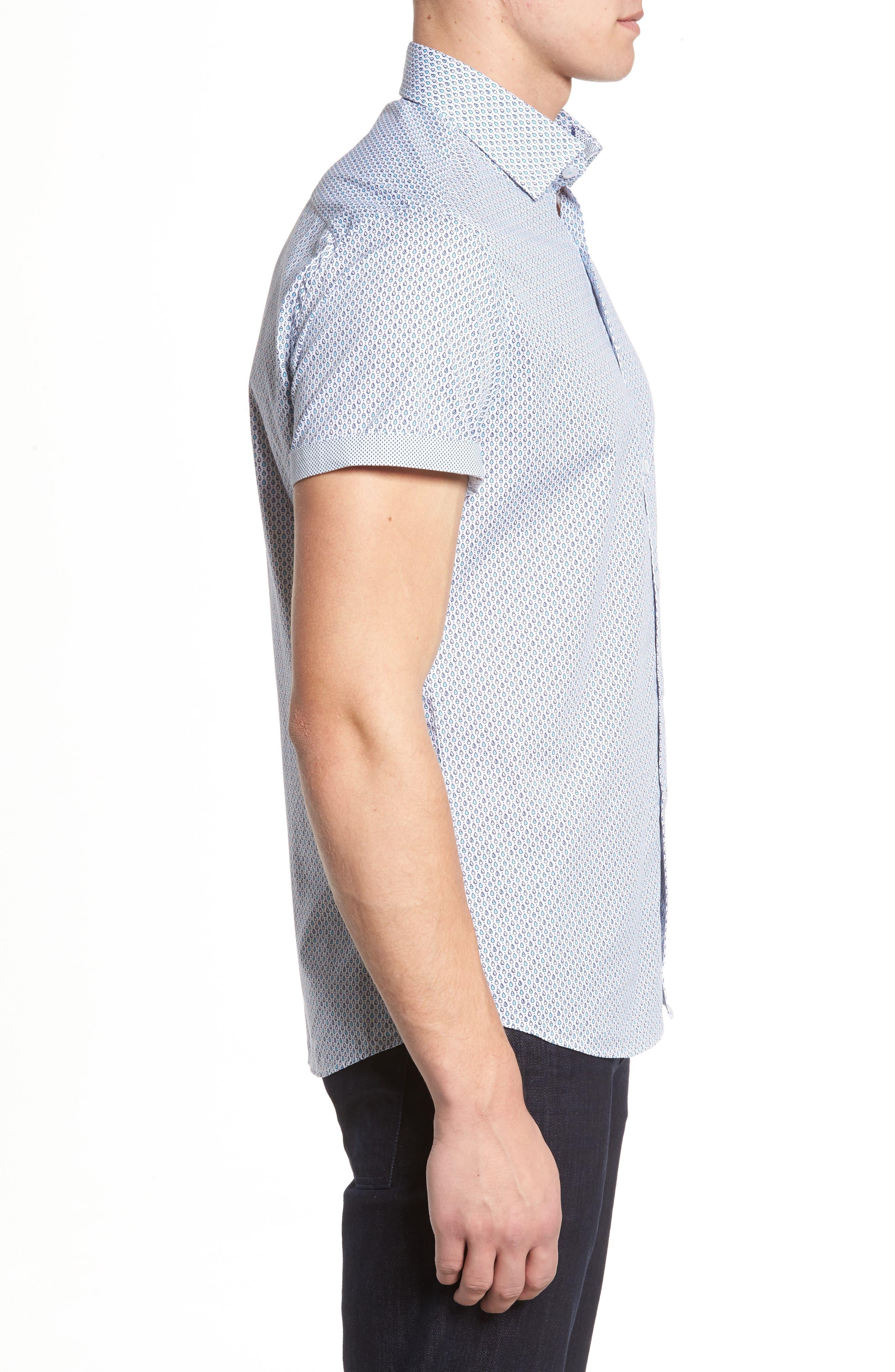 Trim Fit Teardrop Sport Shirt,                             Alternate thumbnail 3, color,                             White