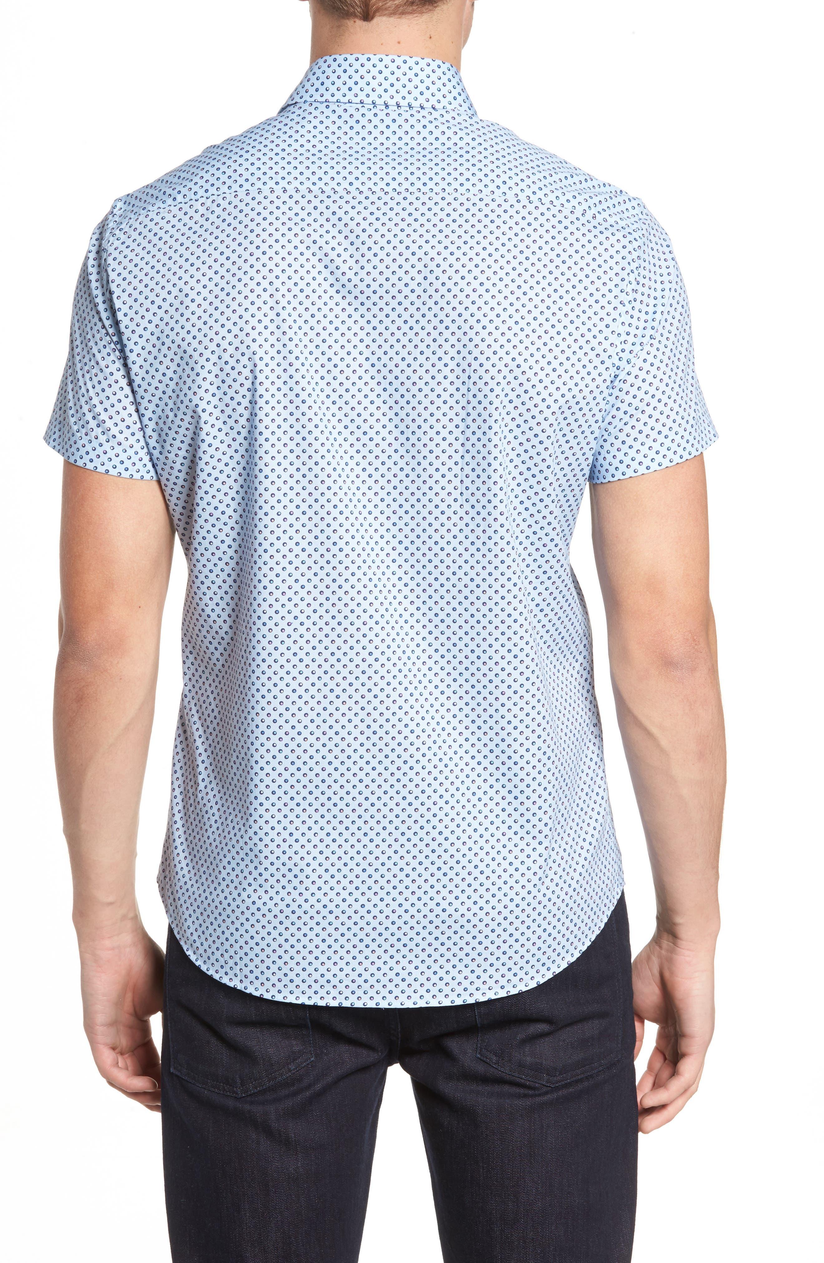 Trim Fit Circle Print Sport Shirt,                             Alternate thumbnail 2, color,                             Sky Blue