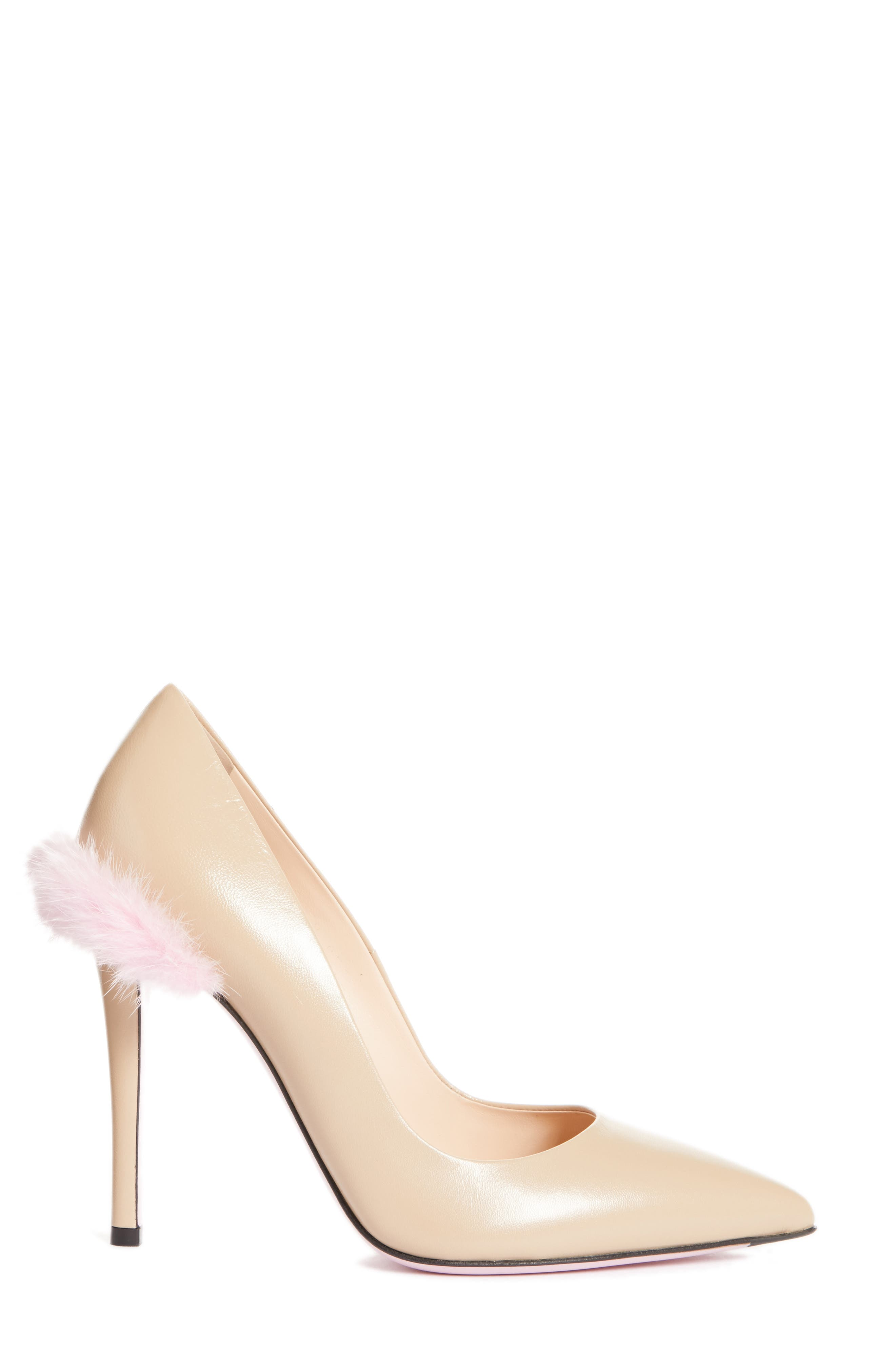 Duo Pointy Toe Pump with Genuine Mink Trim,                             Alternate thumbnail 3, color,                             Nude