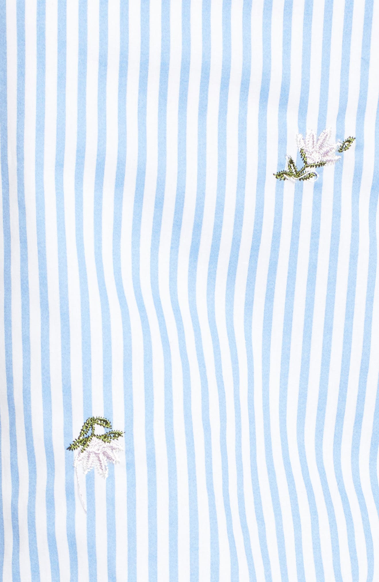 Embroidered Shorts,                             Alternate thumbnail 5, color,                             Blue/ Ivory Stripe