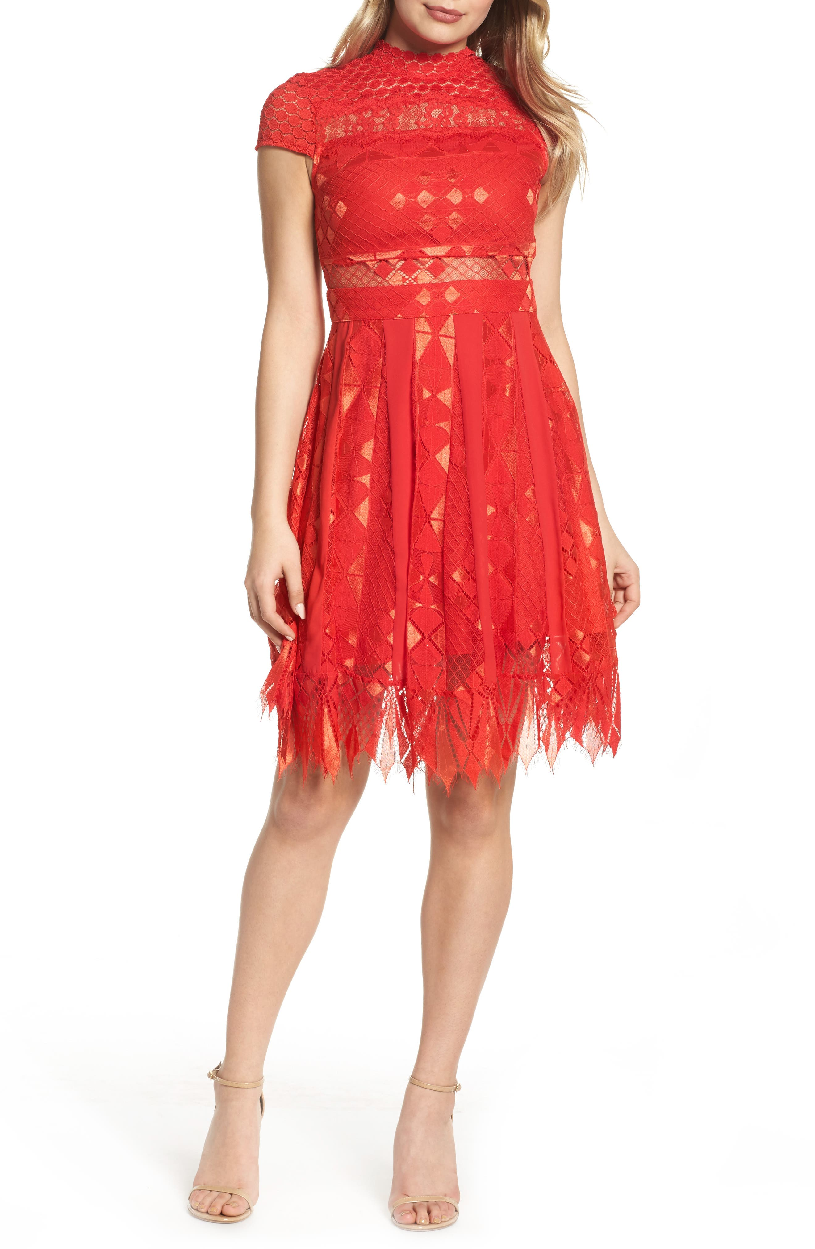 Bravo Zulu Lace Fit & Flare Dress,                         Main,                         color, Red Blush