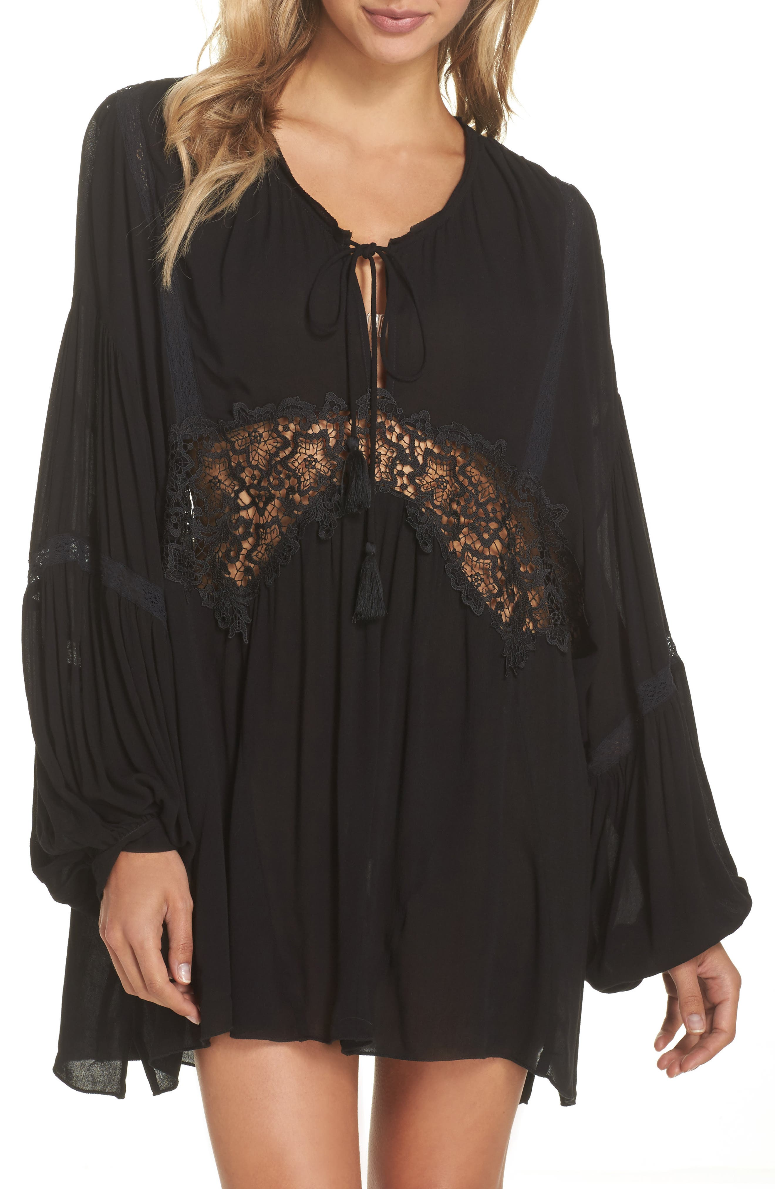 Intimately FP Sleepin' 'n' Dreamin' Lace Inset Top,                         Main,                         color, Black