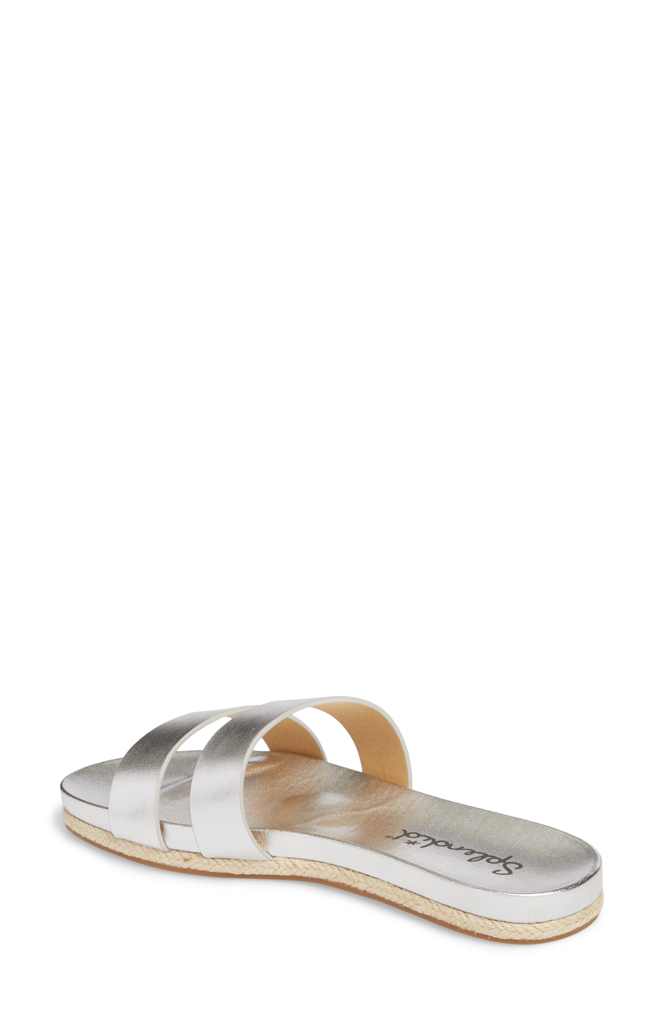 Brittani Slide Sandal,                             Alternate thumbnail 2, color,                             Silver Metallic Leather