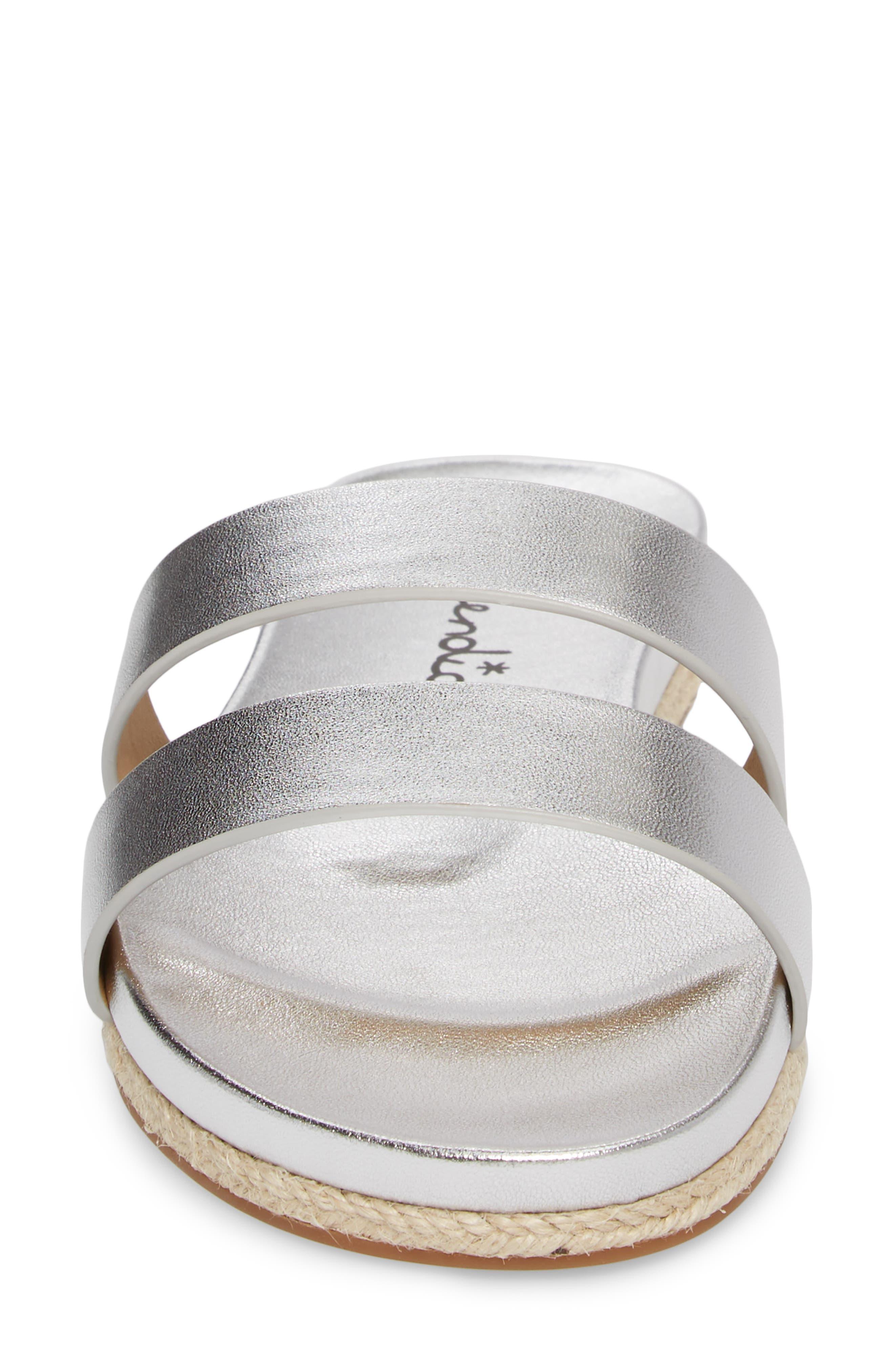 Brittani Slide Sandal,                             Alternate thumbnail 4, color,                             Silver Metallic Leather