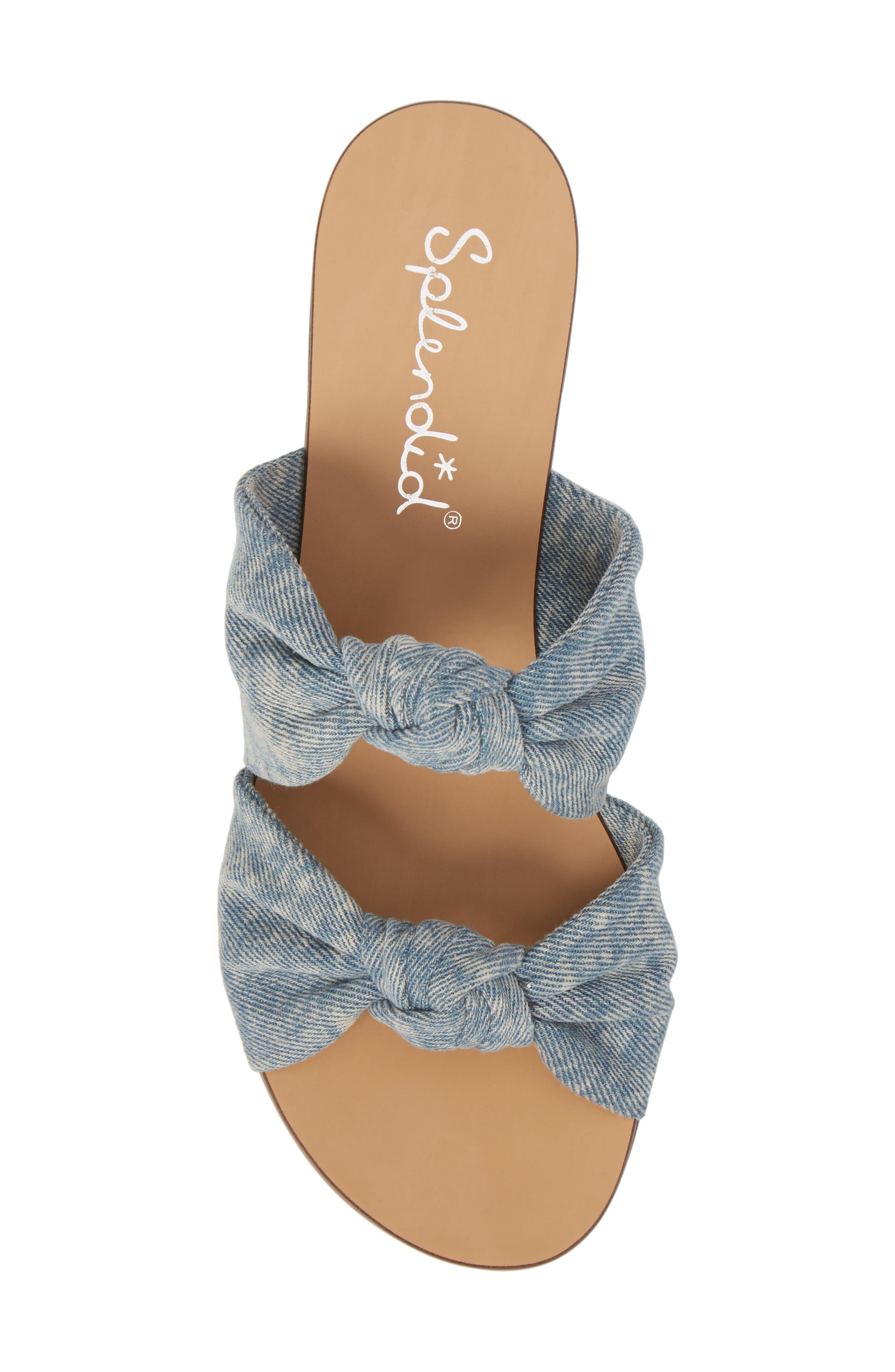 Barton Double Knotted Slide Sandal,                             Alternate thumbnail 5, color,                             Jean Fabric