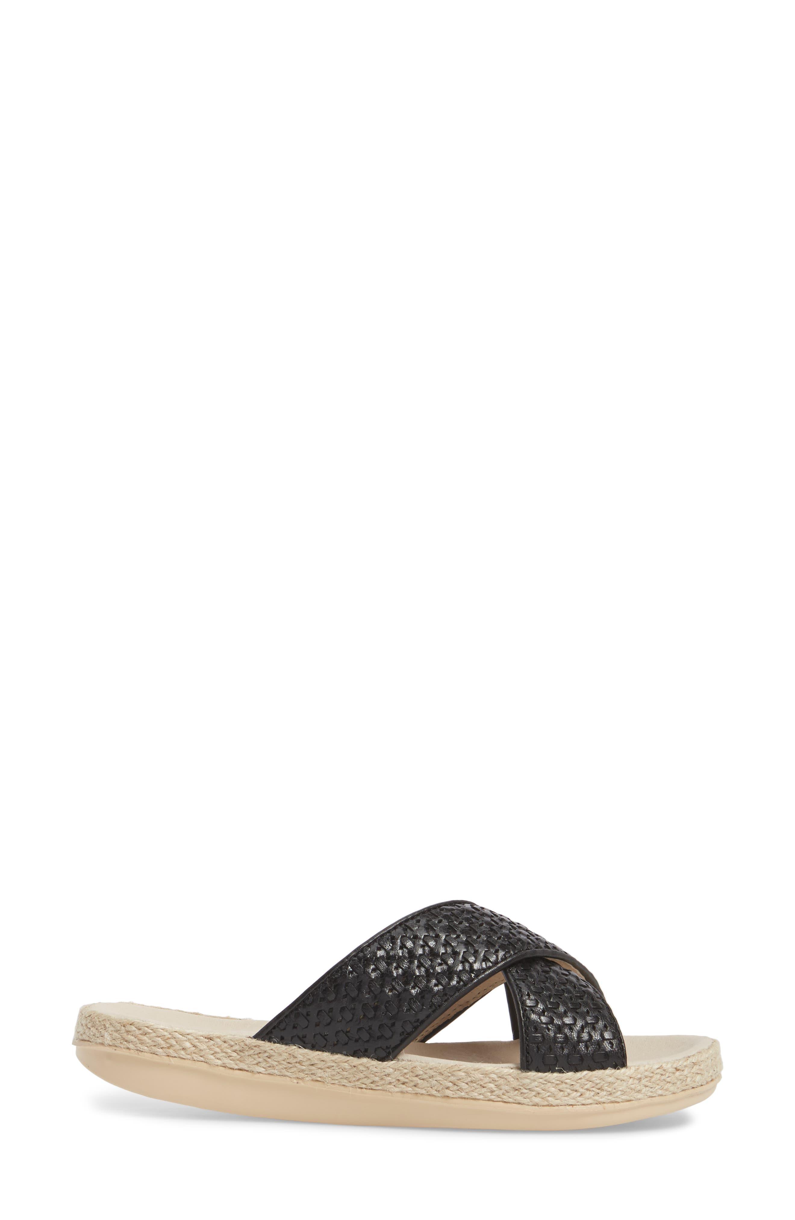 Glencairn Sandal,                             Alternate thumbnail 3, color,                             Black Leather