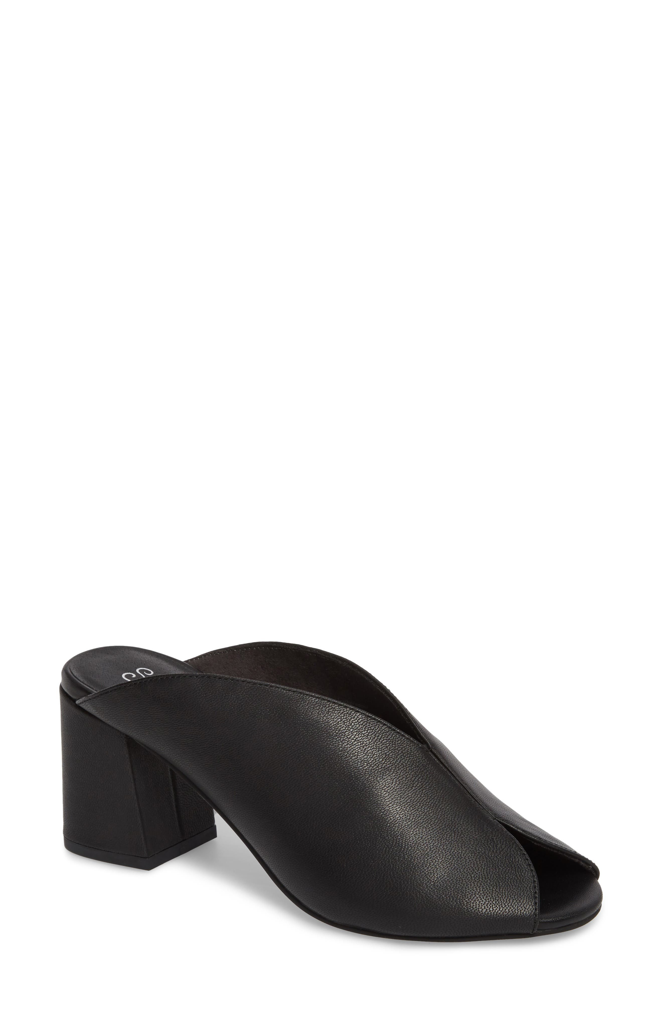 By the Beach V-Cut Sandal,                         Main,                         color, Black Leather