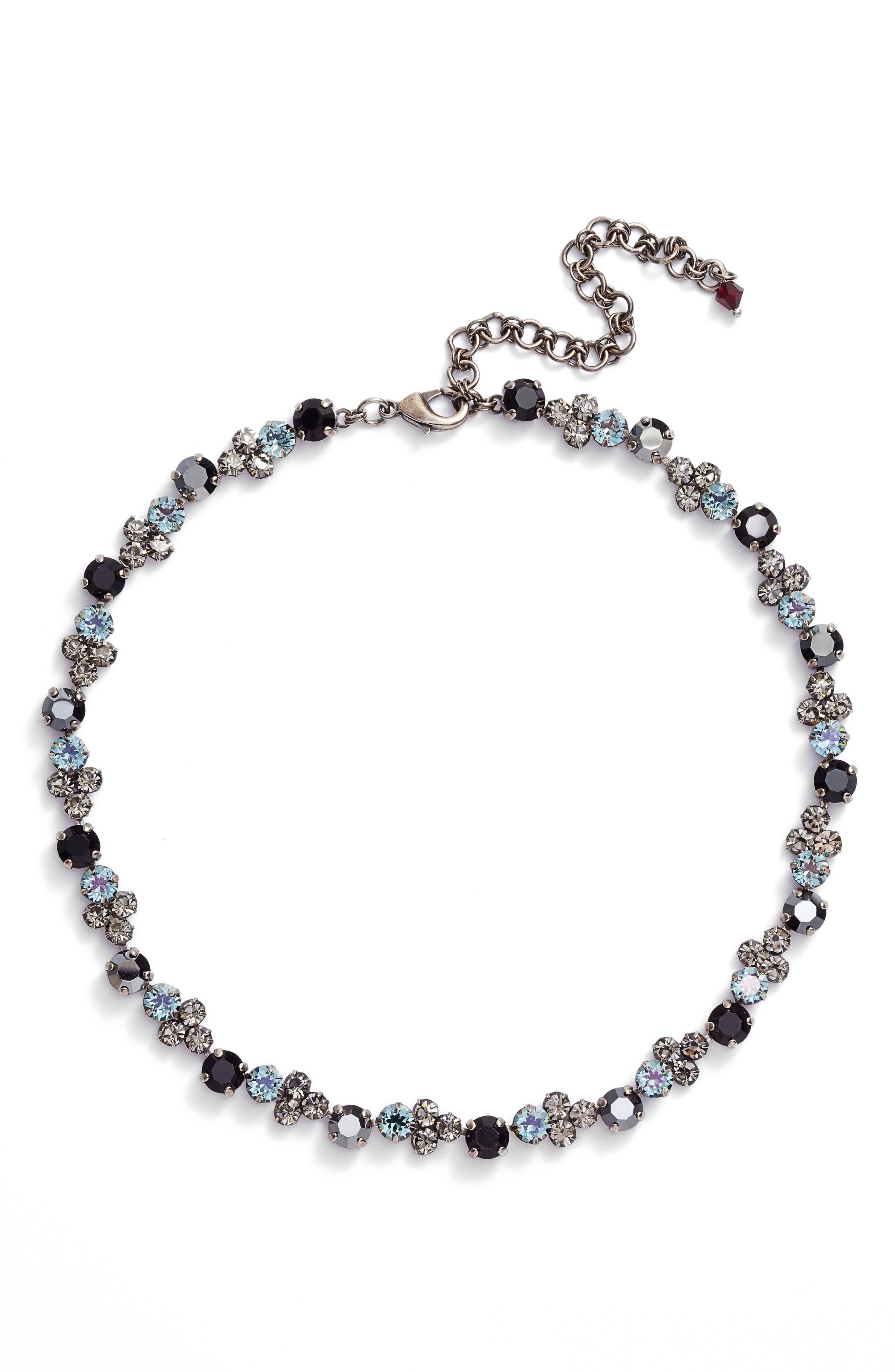 Crystal Collar Necklace,                         Main,                         color, Black