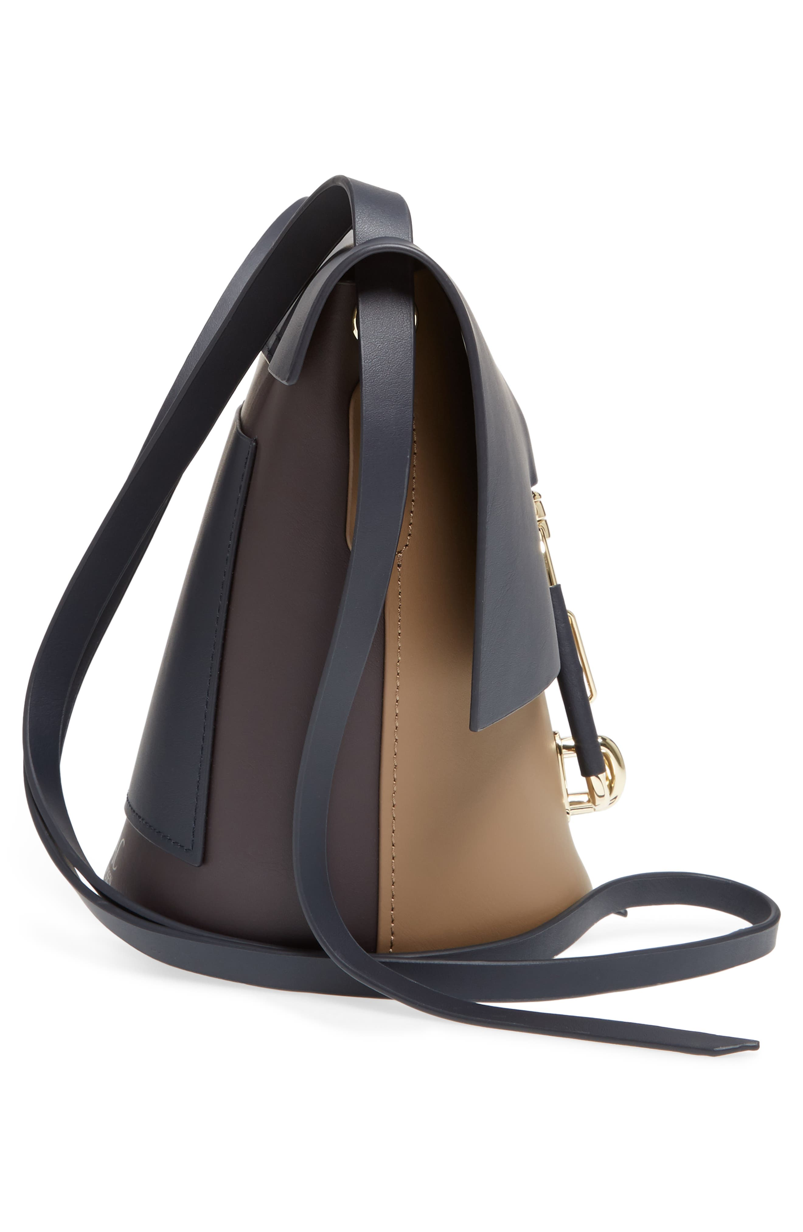 Belay Colorblock Calfskin Leather Crossbody Bucket Bag,                             Alternate thumbnail 5, color,                             Navy