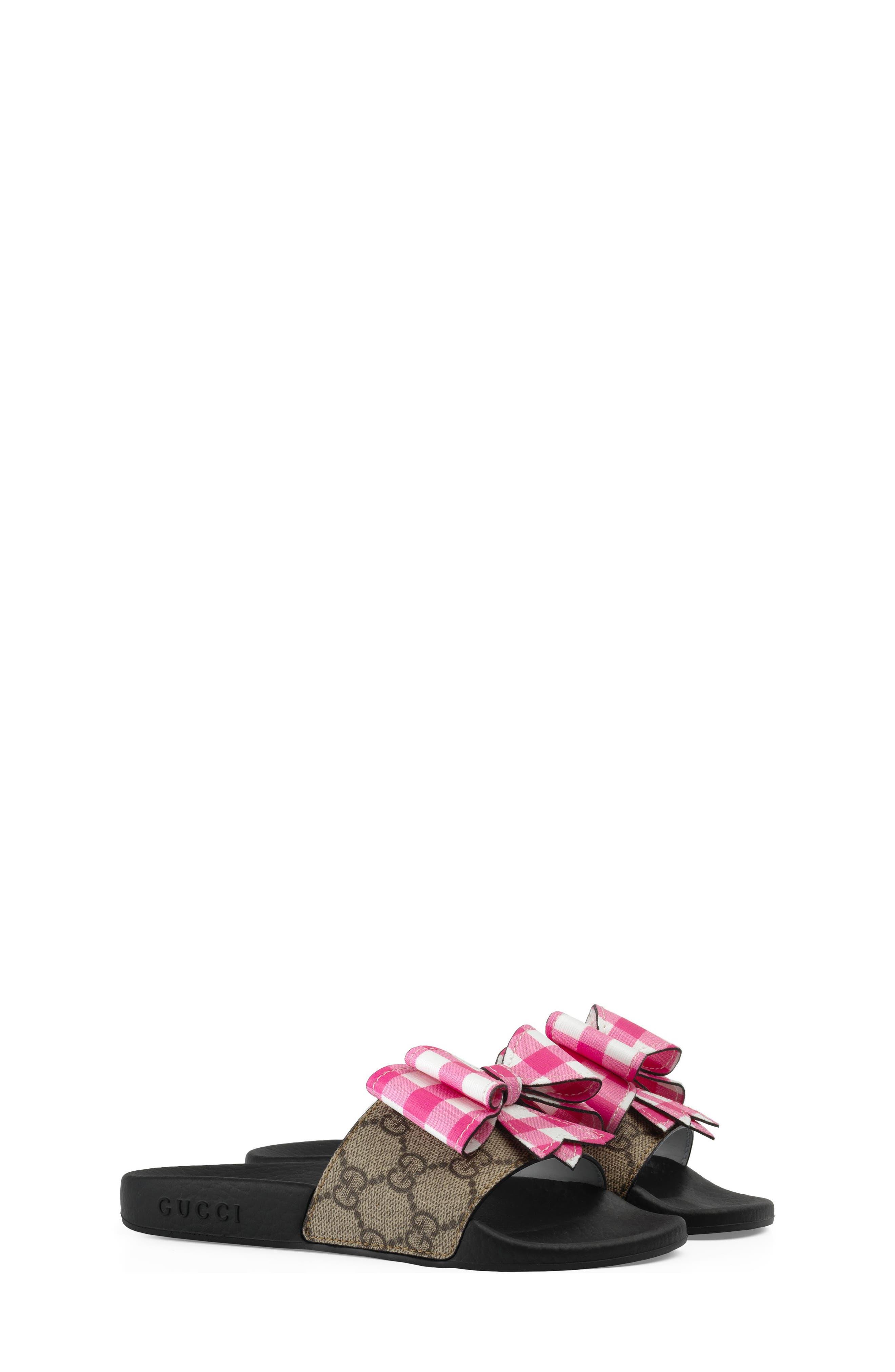 Pursuit Bow Slide,                             Main thumbnail 1, color,                             Beige/ Pink