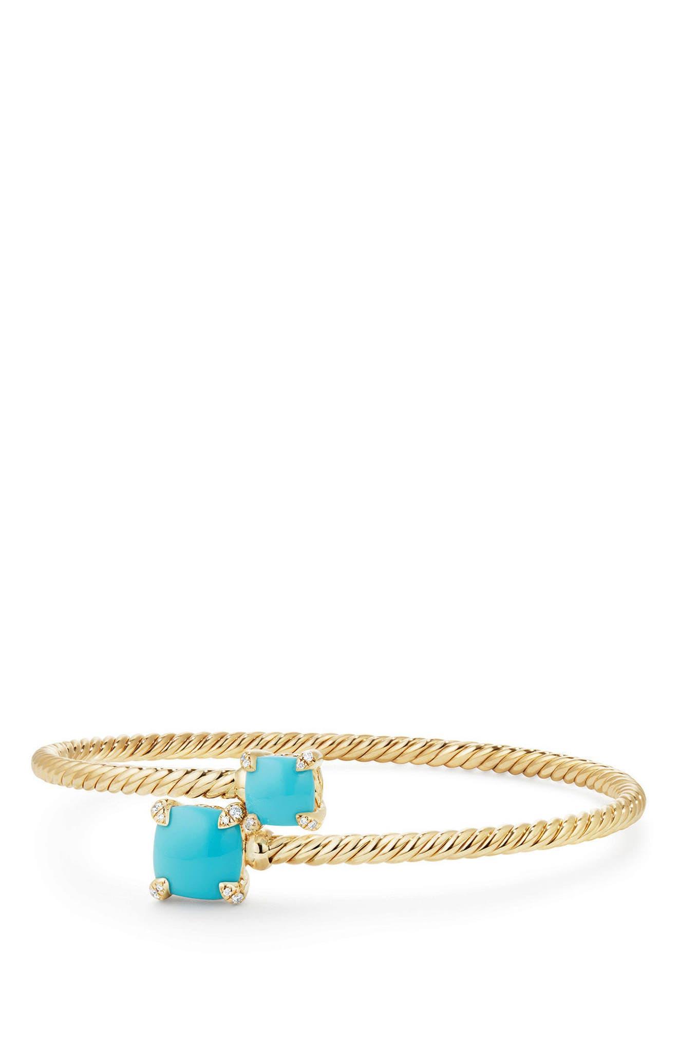 David Yurman Châtelaine Bypass Bracelet with Semiprecious Stone & Diamonds in 18K Gold