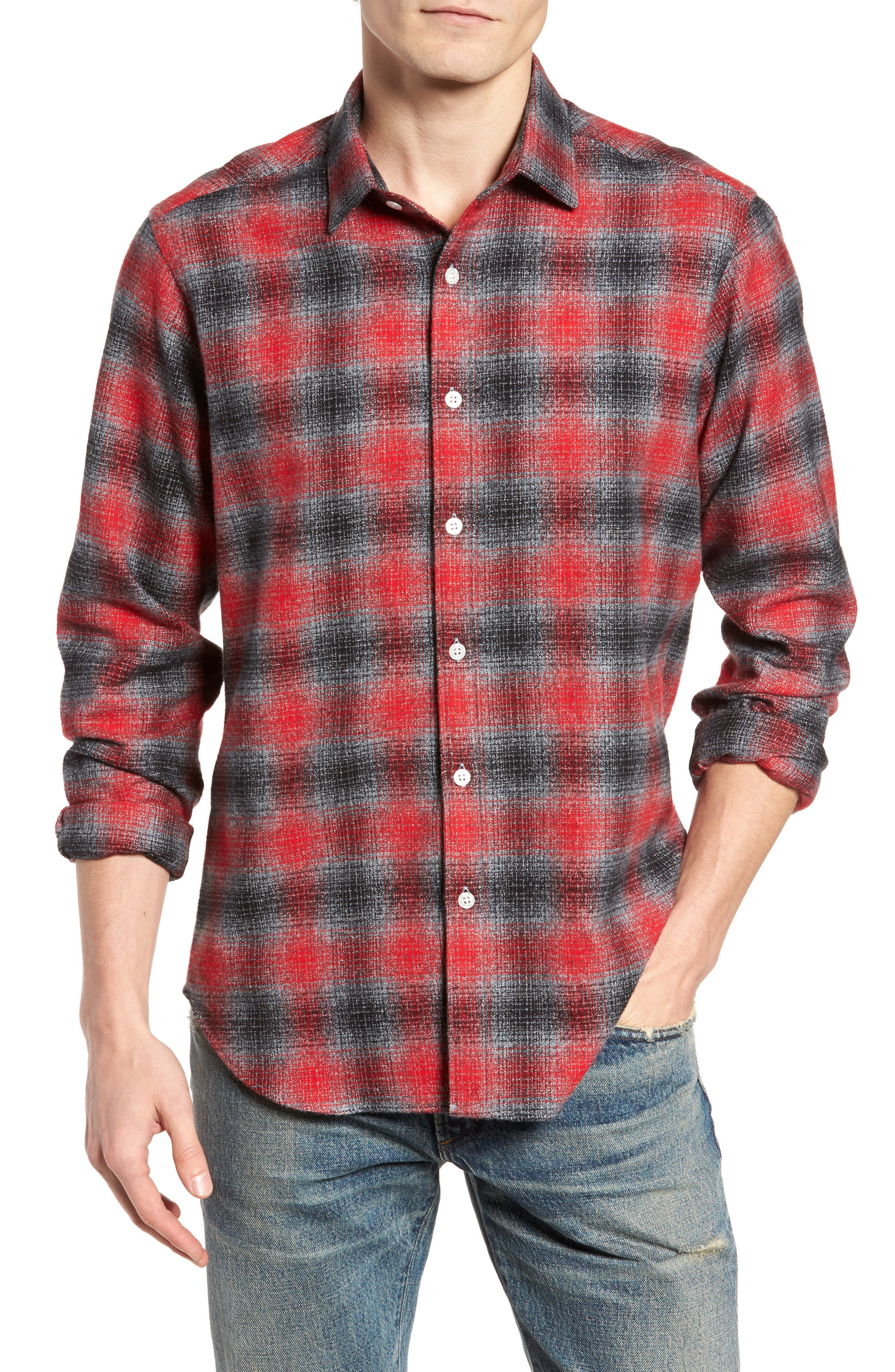 Stowe Slim Fit Plaid Sport Shirt,                         Main,                         color, Platnium Grey