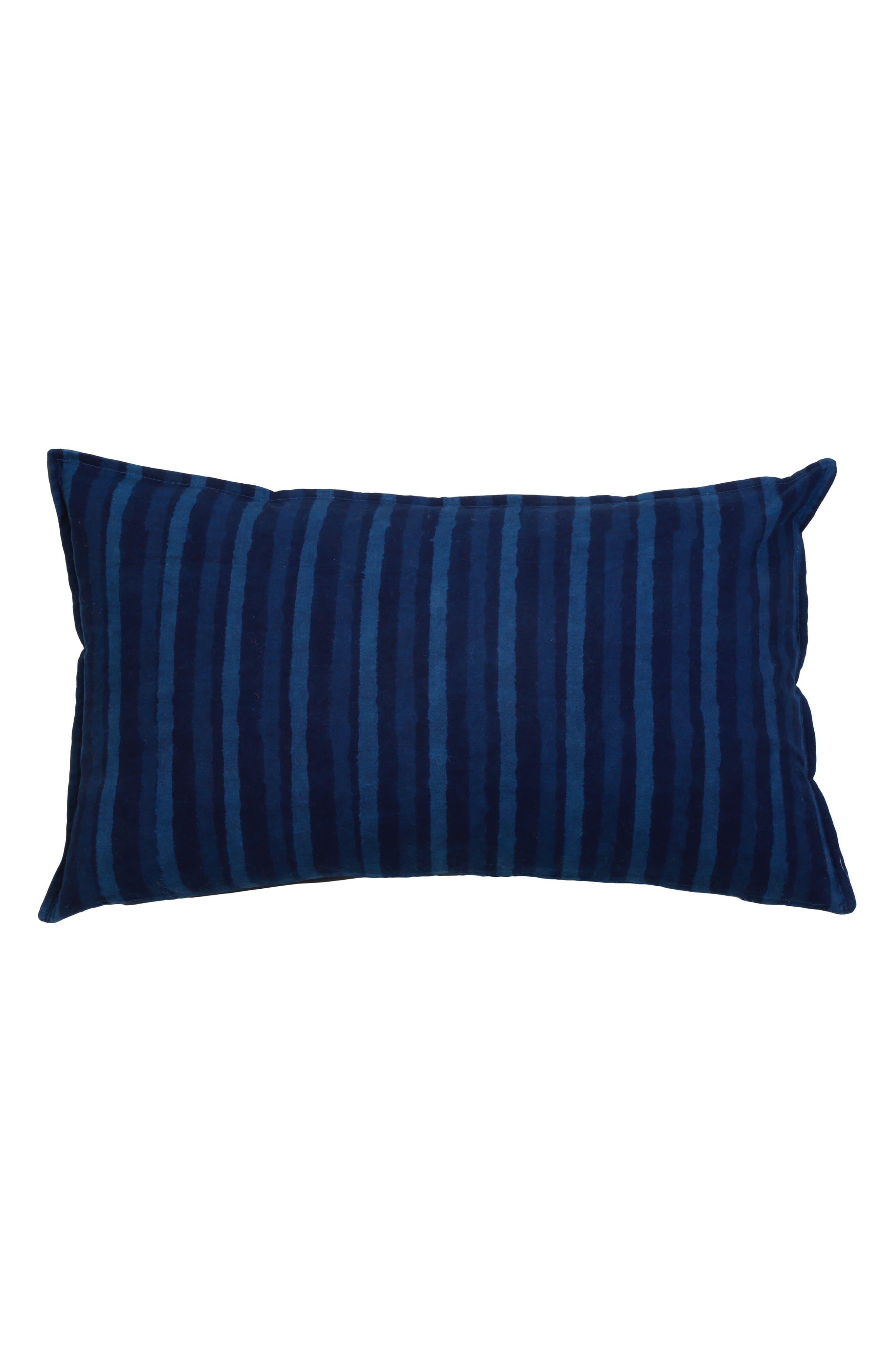 Indigo Stripe Accent Pillow,                             Main thumbnail 1, color,                             Blue Multi
