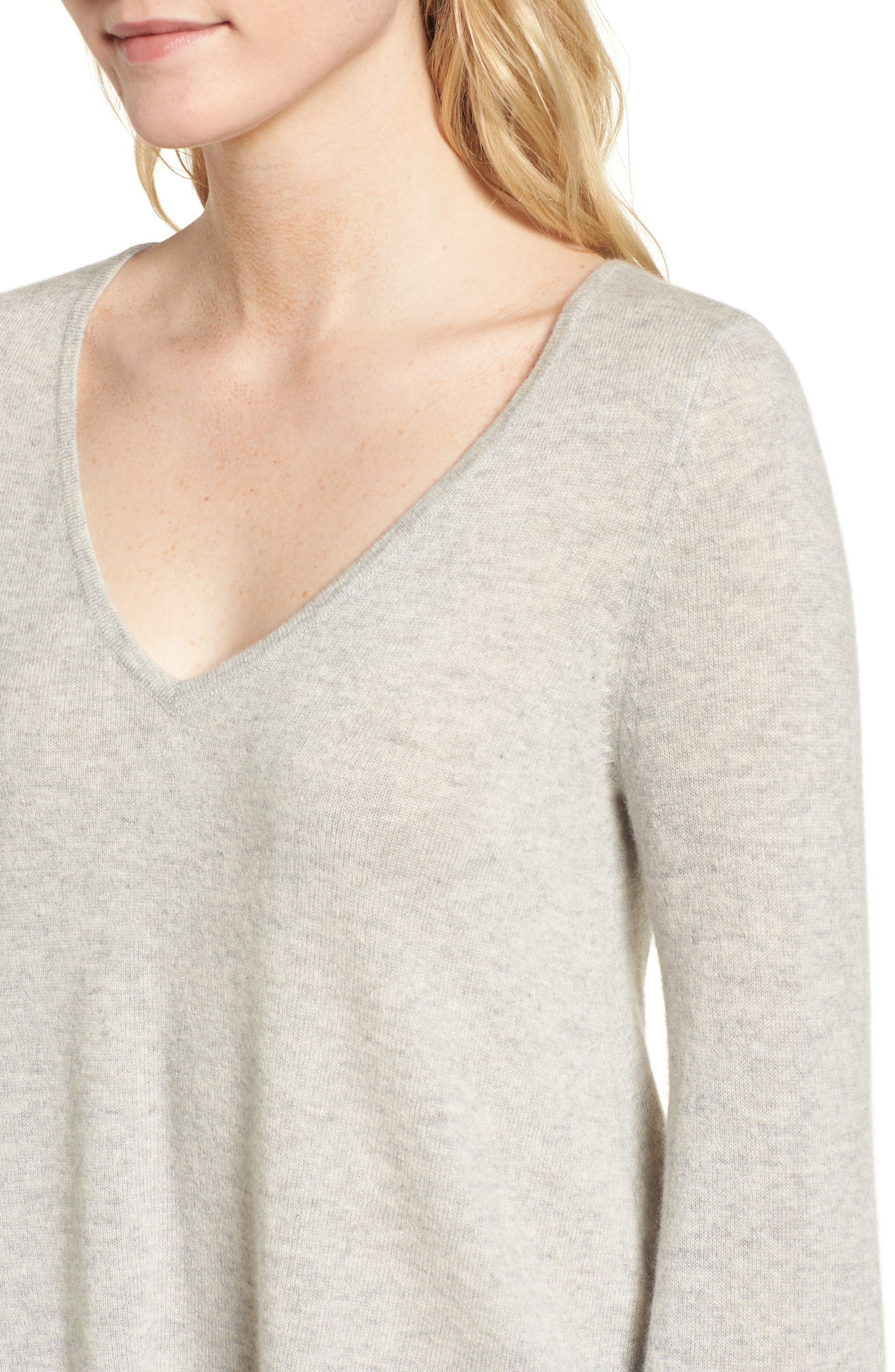 Marylee Cashmere Top,                             Alternate thumbnail 4, color,                             Light Heather Grey
