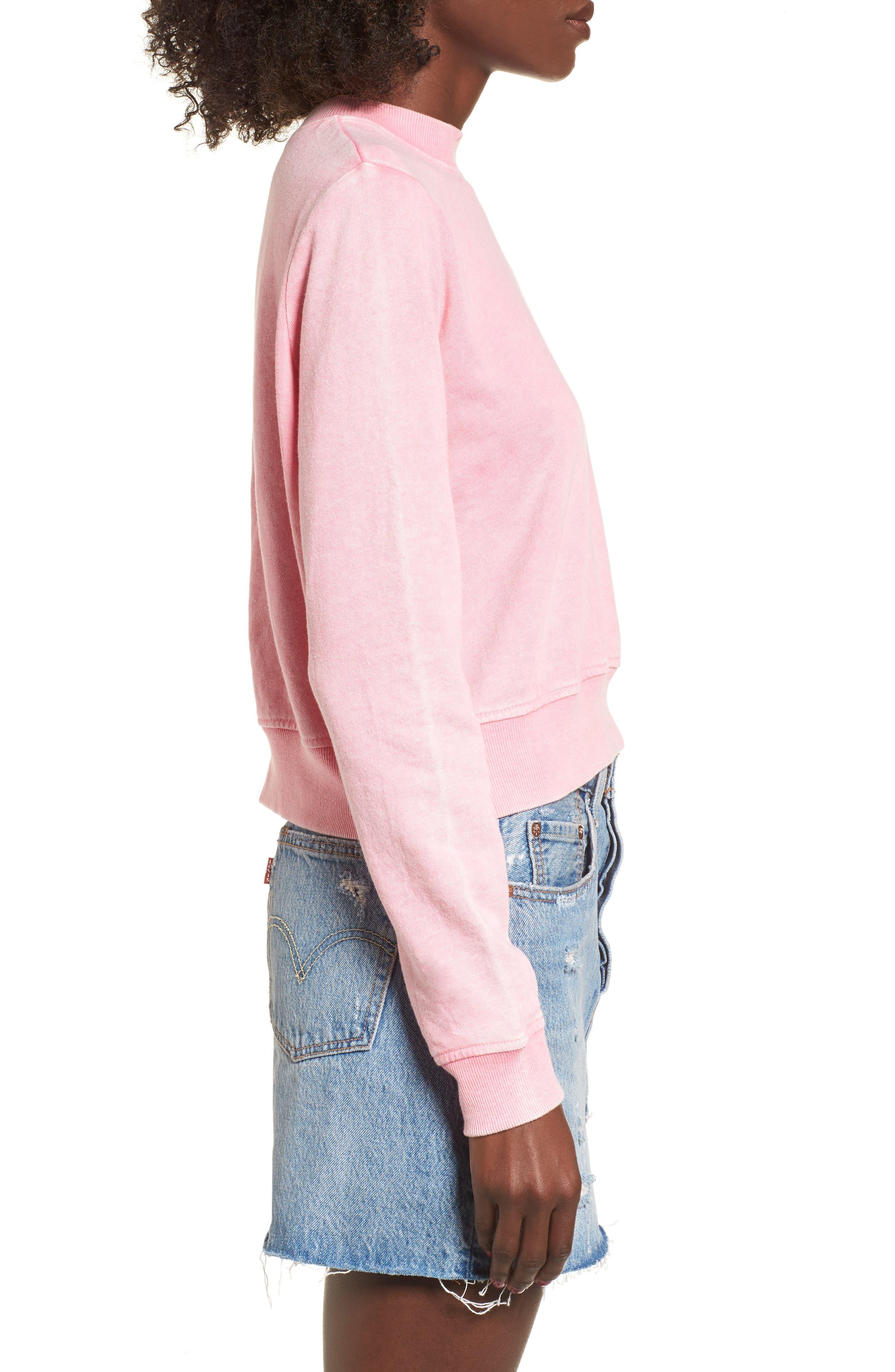 Washed Crop Sweatshirt,                             Alternate thumbnail 3, color,                             Pink