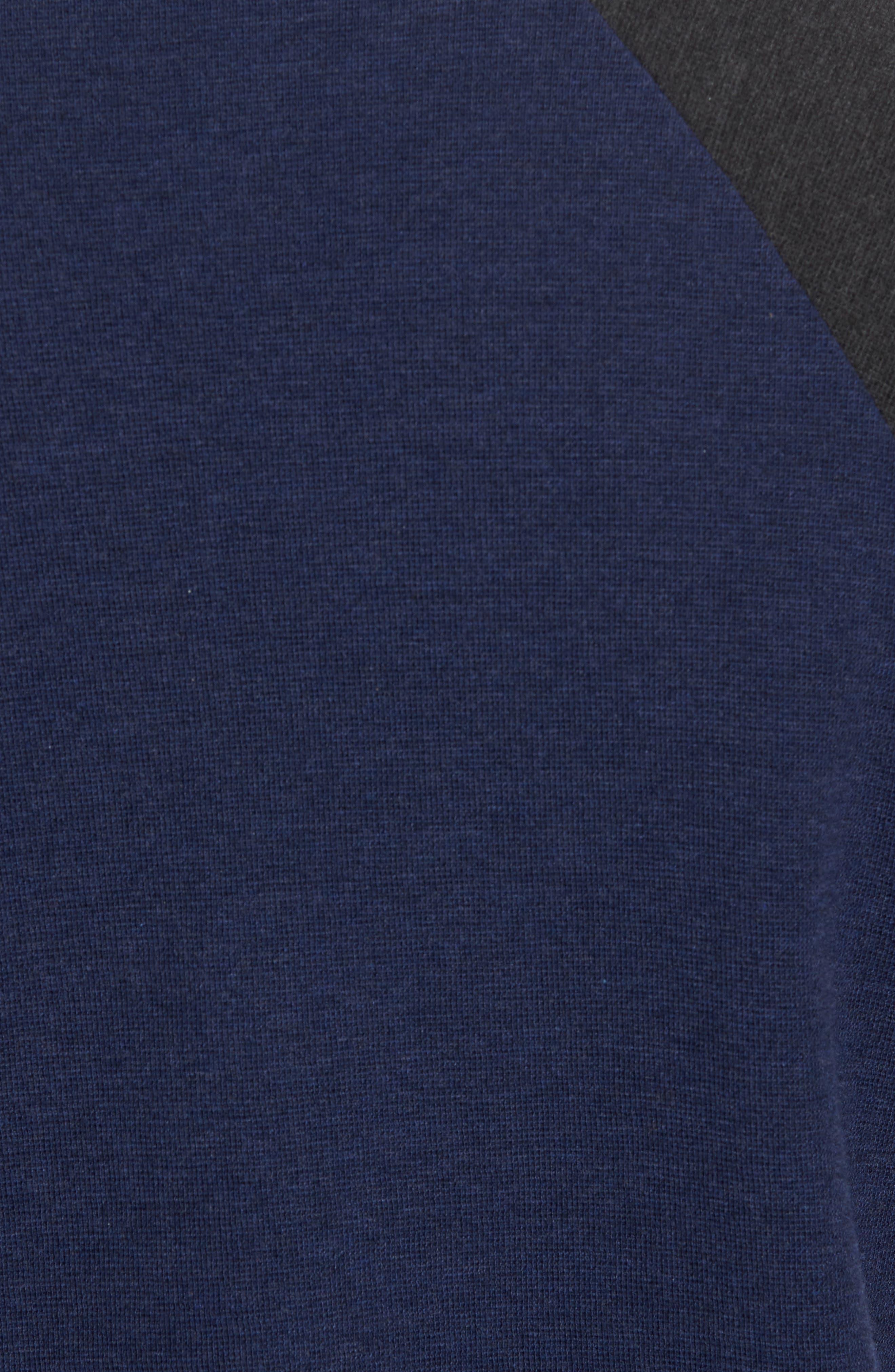 Thermal Knit Raglan Sweatshirt,                             Alternate thumbnail 5, color,                             Heather Navy/ Heather Charcoal
