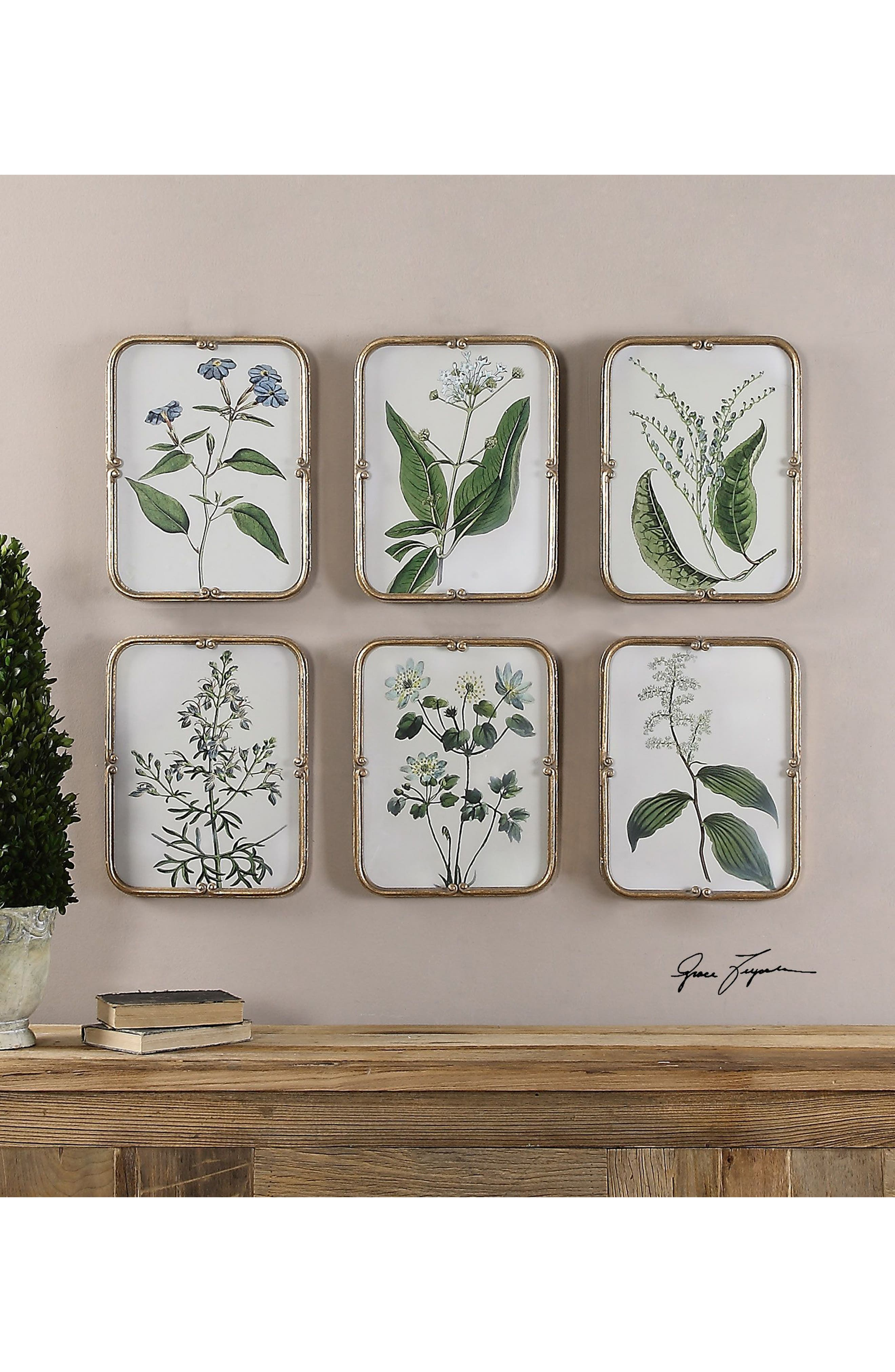 Blue Floral 6-Piece Wall Art Set,                             Alternate thumbnail 2, color,                             Ivory