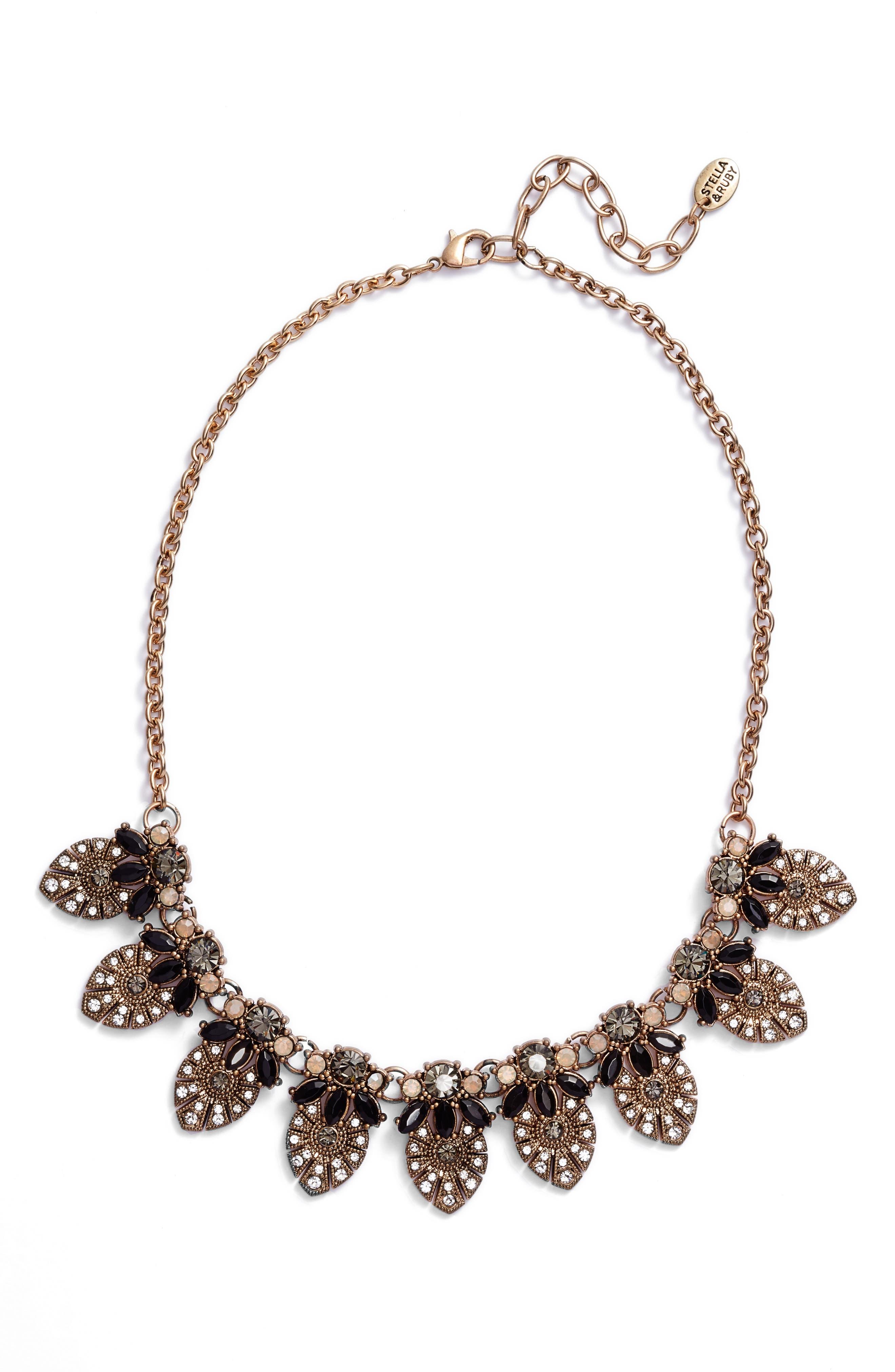 Crystal Bib Necklace,                         Main,                         color, Brass/ Jet