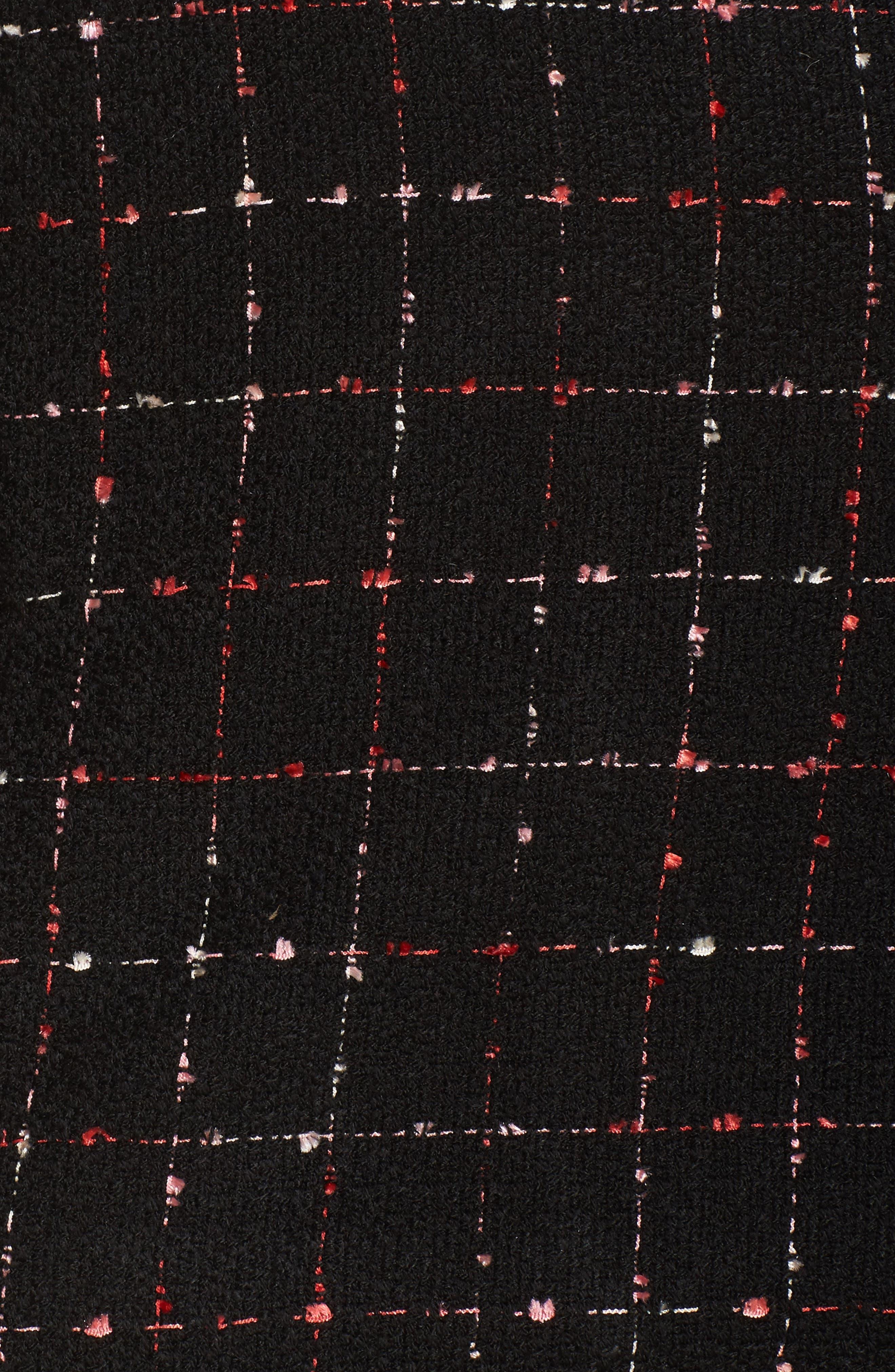 Spring Windowpane Tweed Jacket,                             Alternate thumbnail 6, color,                             Rich Black