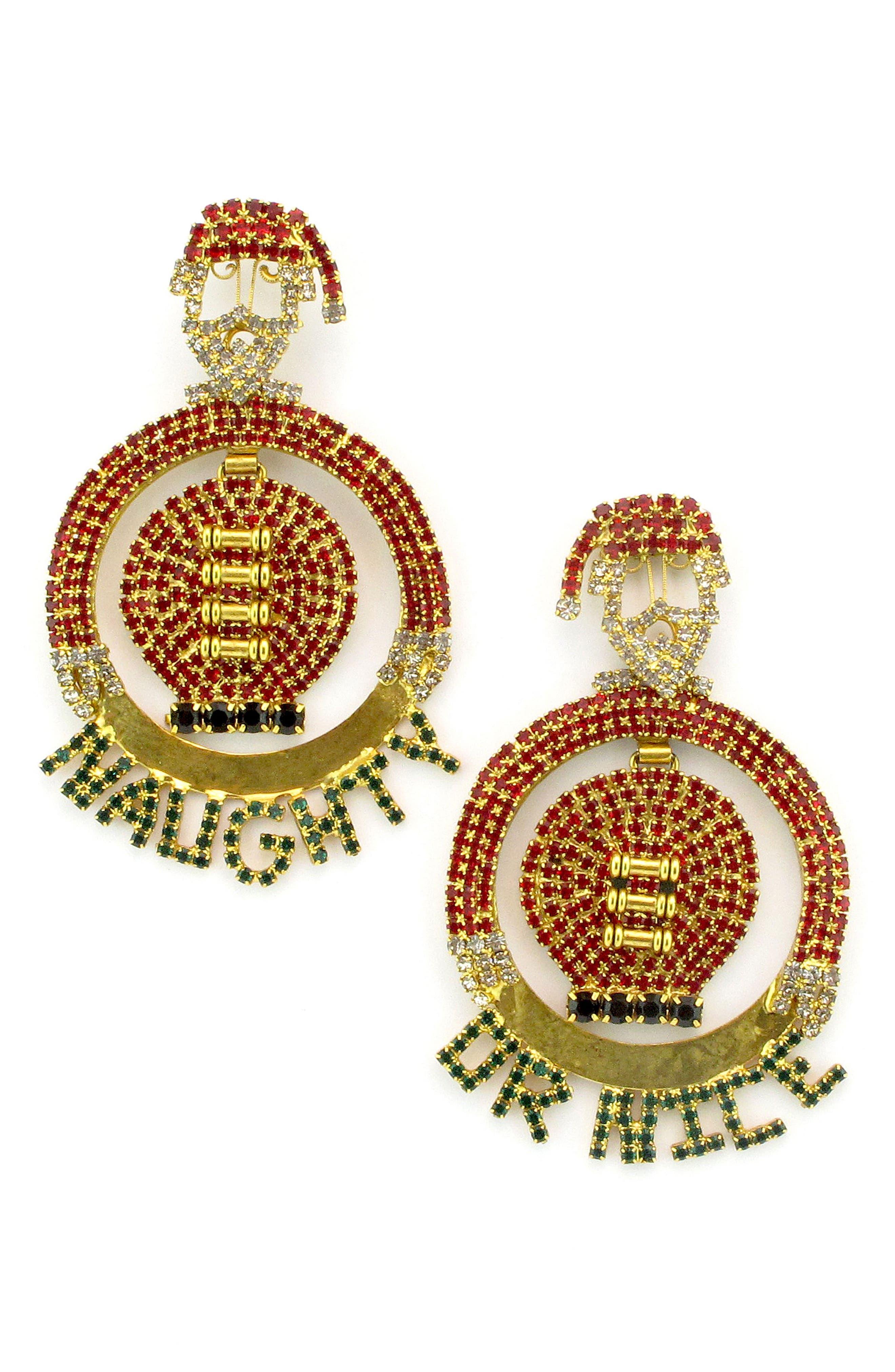 Jolly Santa Crystal Drop Earrings,                             Main thumbnail 1, color,                             Red