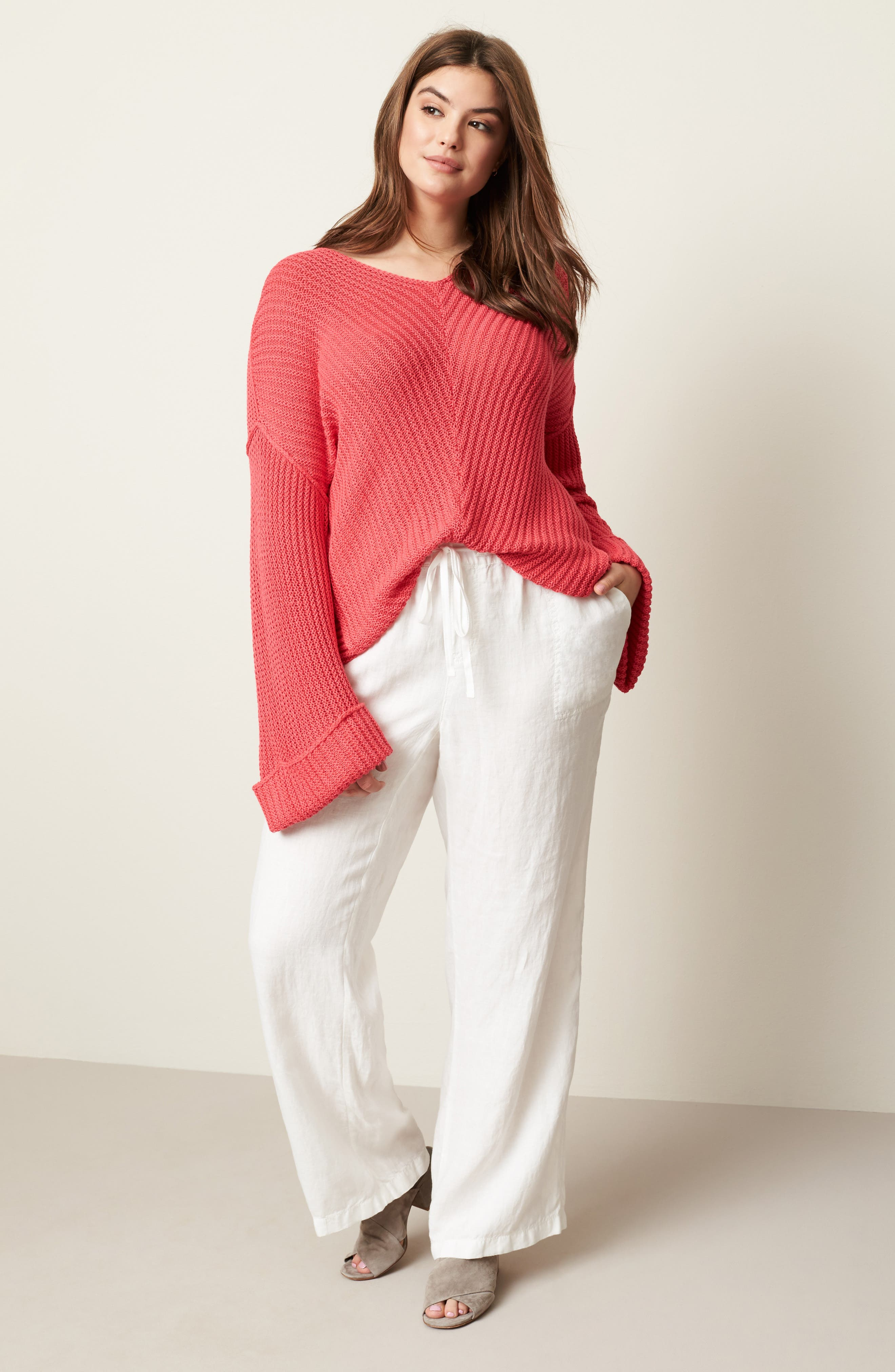 Cuffed Bell Sleeve Sweater,                             Alternate thumbnail 7, color,                             Pink Ribbon