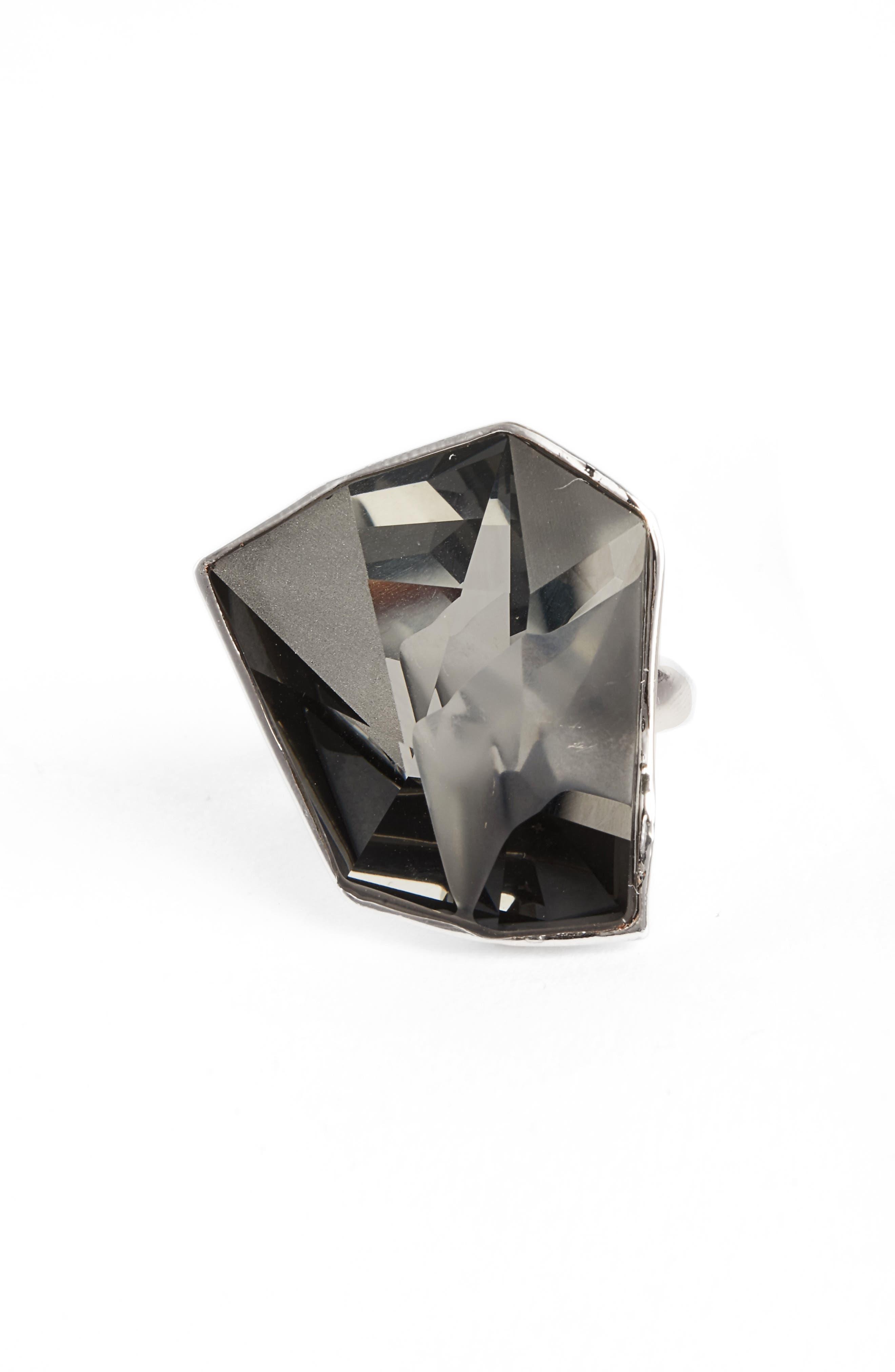 Geo Swarvoski Crystal Cocktail Ring,                             Main thumbnail 1, color,                             Rhodium/ Crystal Silver Night