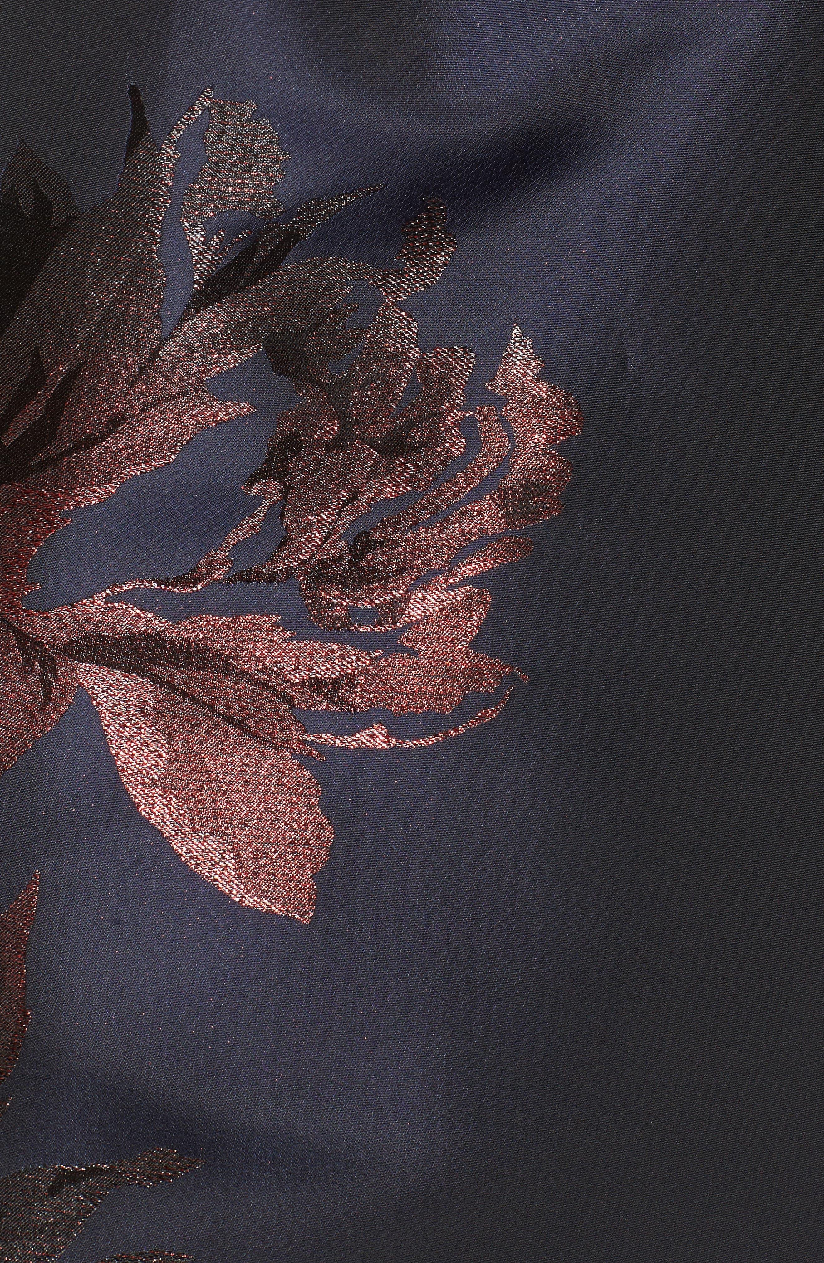 Metallic Floral Fit & Flare Dress,                             Alternate thumbnail 5, color,                             Navy/ Burgundy