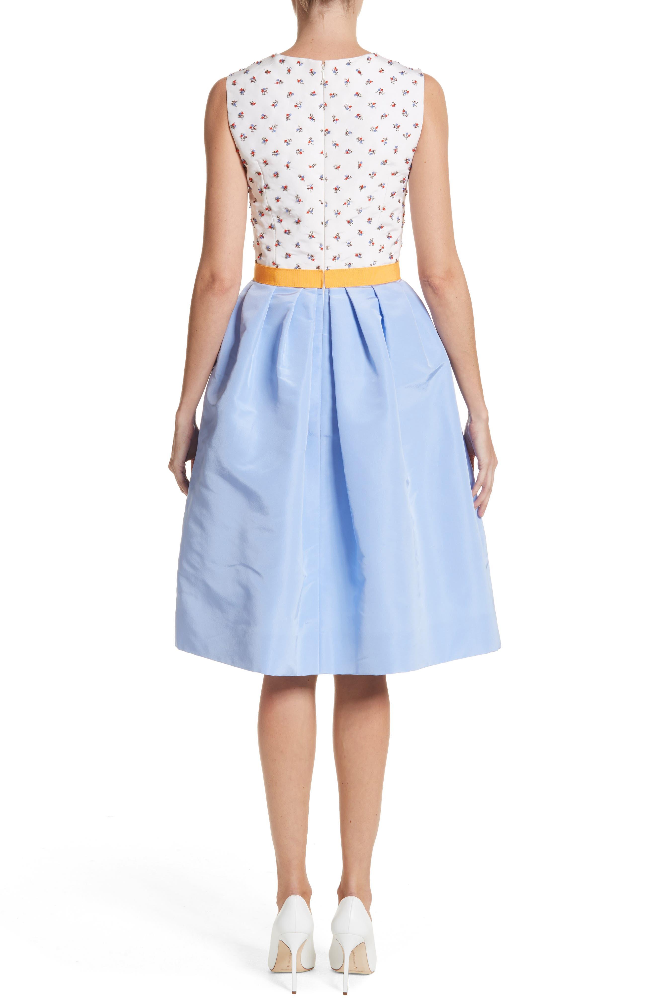 Beaded A-Line Silk Dress,                             Alternate thumbnail 2, color,                             White/ Cornflower