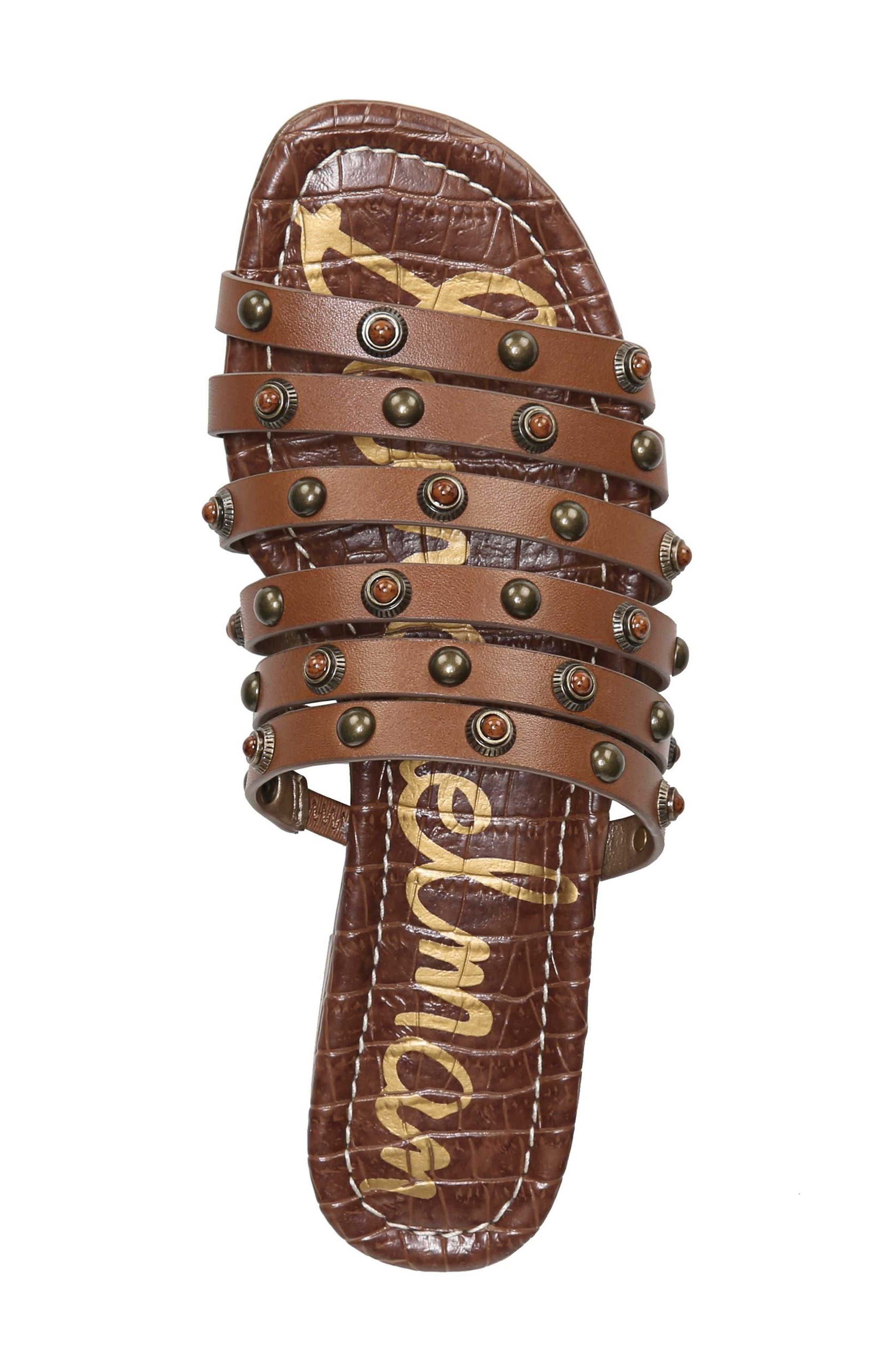 Brea Studded Slide Sandal,                             Alternate thumbnail 5, color,                             Luggage Leather
