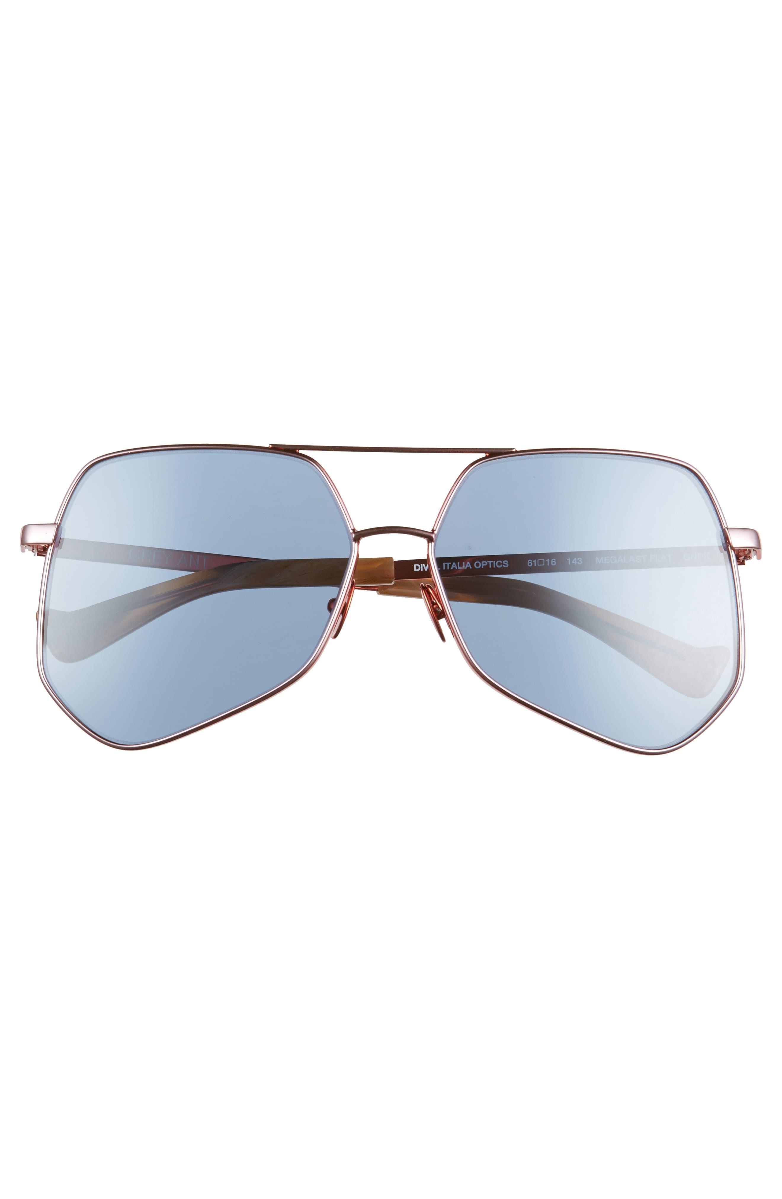 Megalast Flat 61mm Sunglasses,                             Alternate thumbnail 3, color,                             Copper Pink / Light Blue