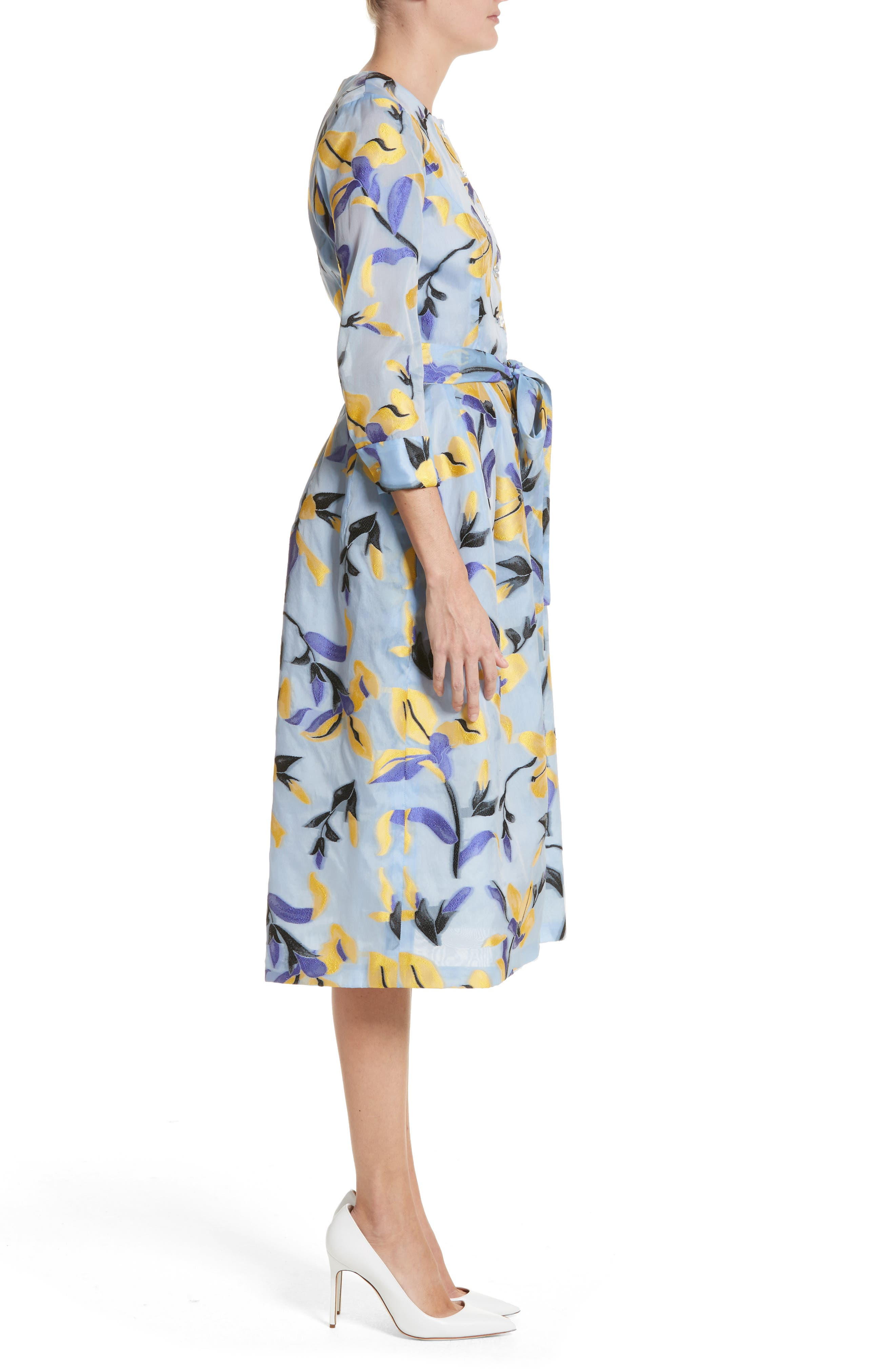 Iris Jacquard Organza Shirtdress,                             Alternate thumbnail 3, color,                             Cornflower Multi