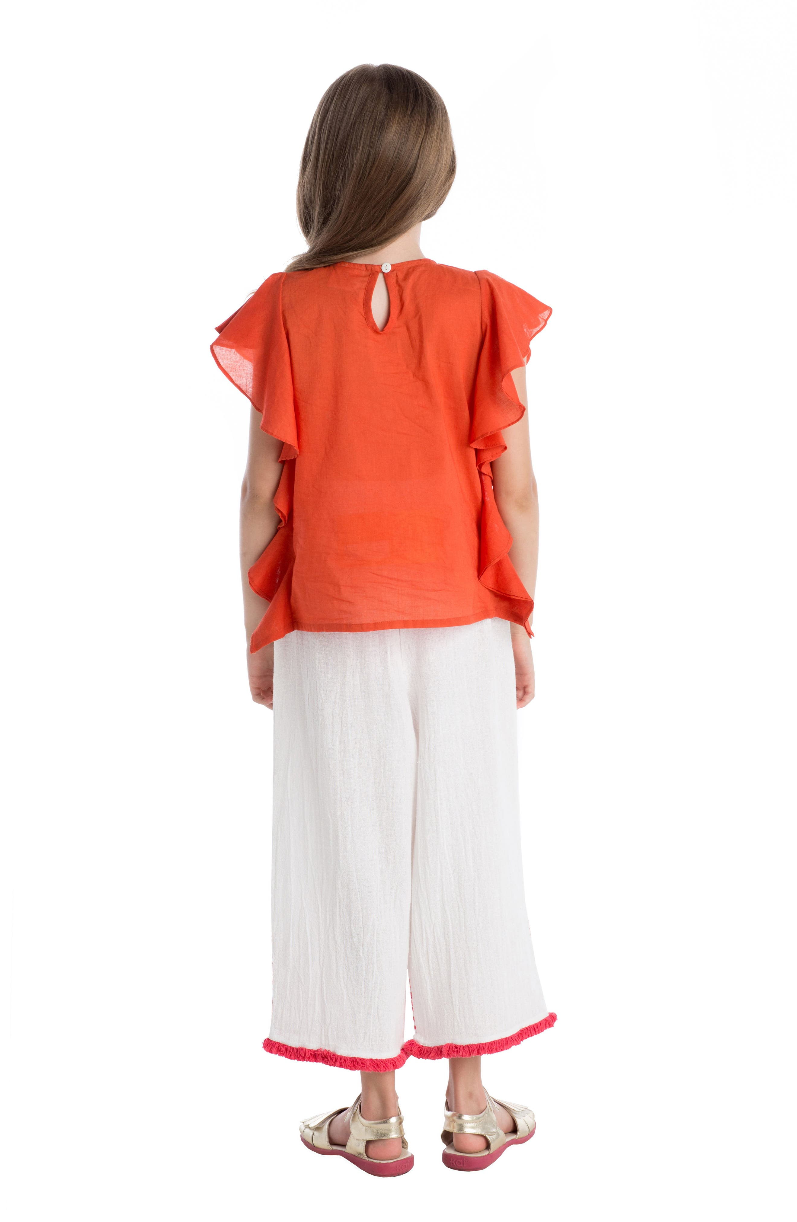 Wave Ruffle Top,                             Alternate thumbnail 3, color,                             Coral