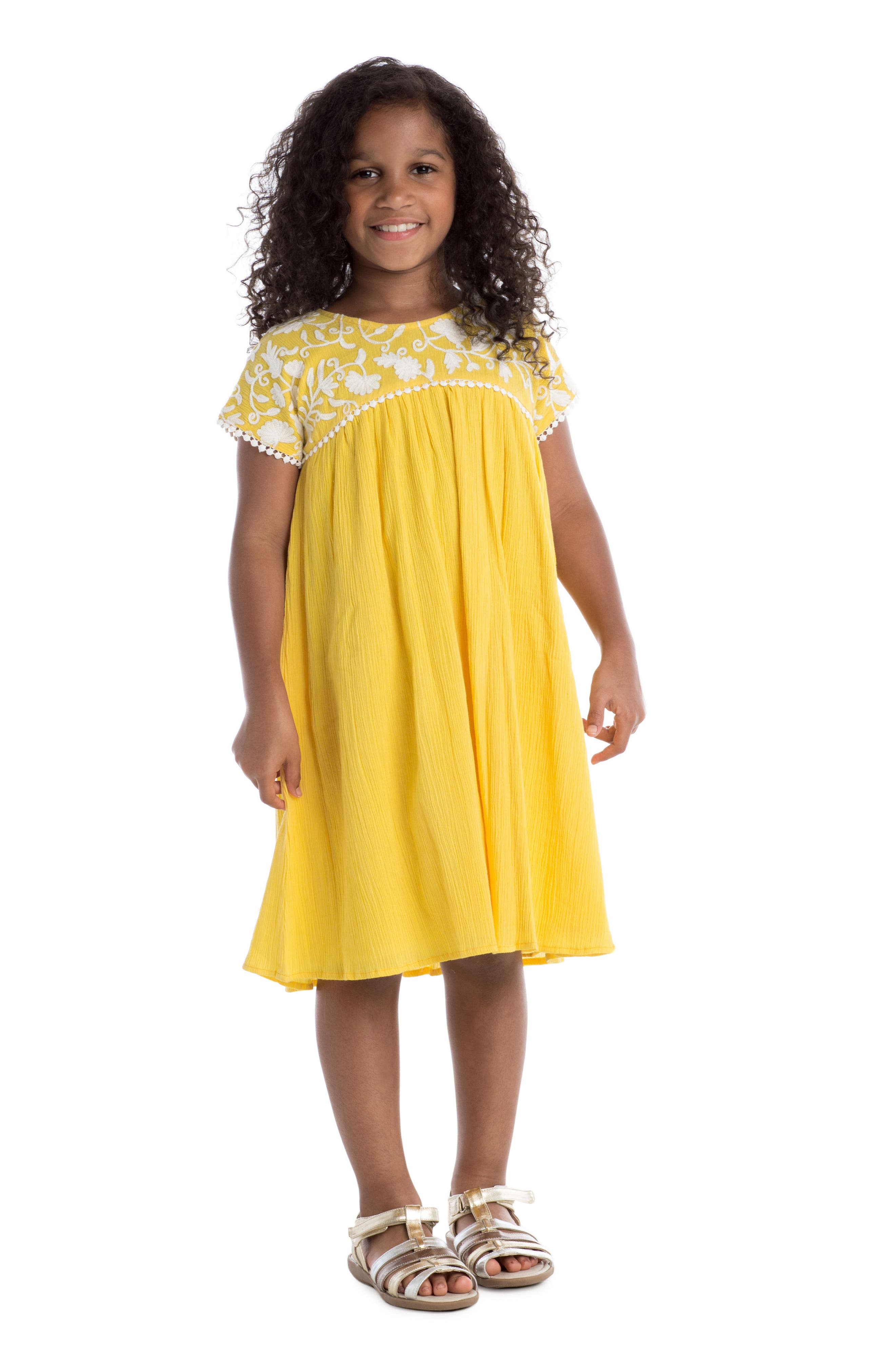 Gia Embroidered Dress,                             Alternate thumbnail 2, color,                             Yellow