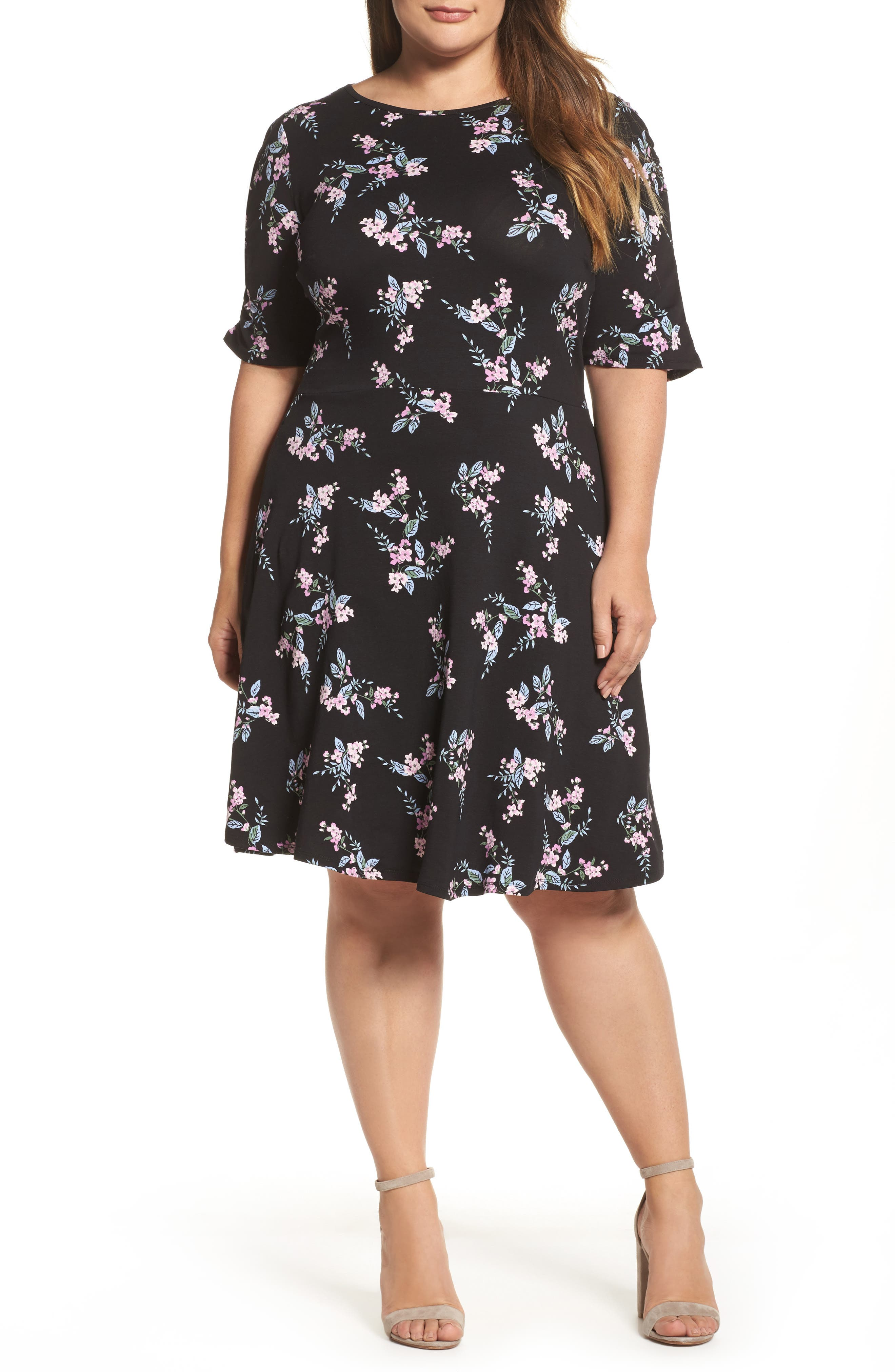 Floral Print Fit & Flare Dress,                             Main thumbnail 1, color,                             Black