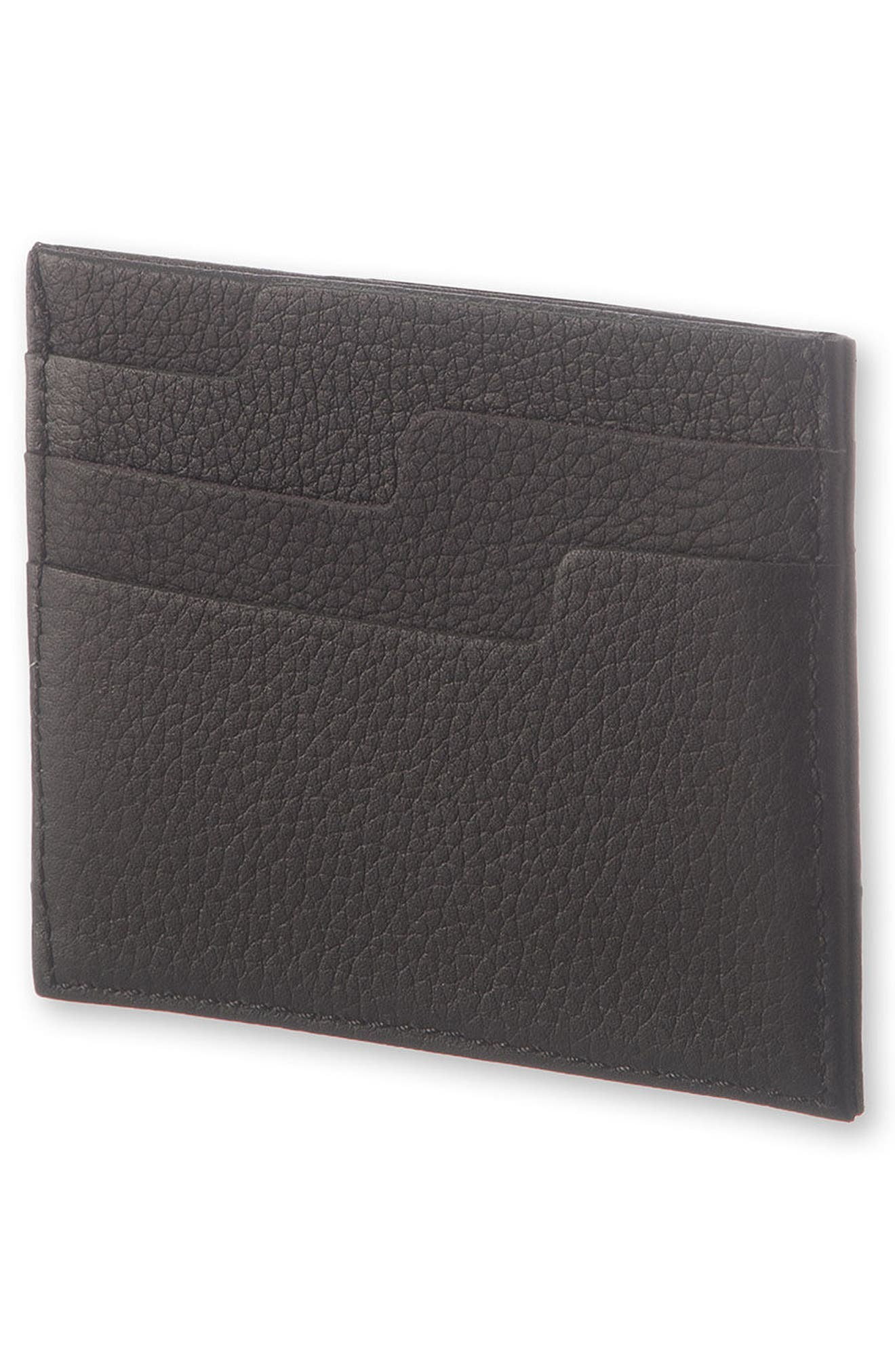 Moleskin Lineage Leather Card Case,                             Alternate thumbnail 4, color,                             Black