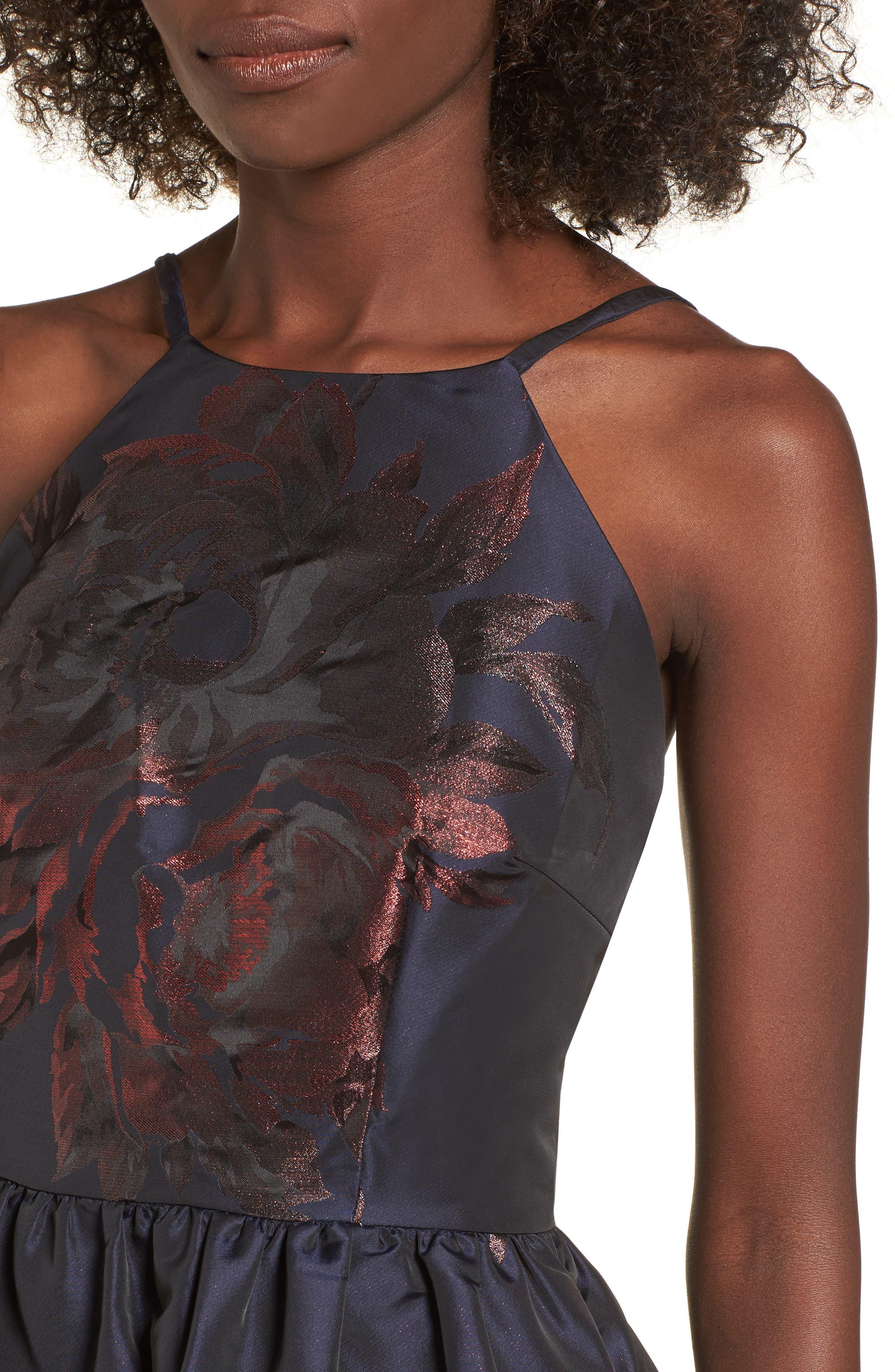 Metallic Floral Fit & Flare Dress,                             Alternate thumbnail 4, color,                             Navy/ Burgundy