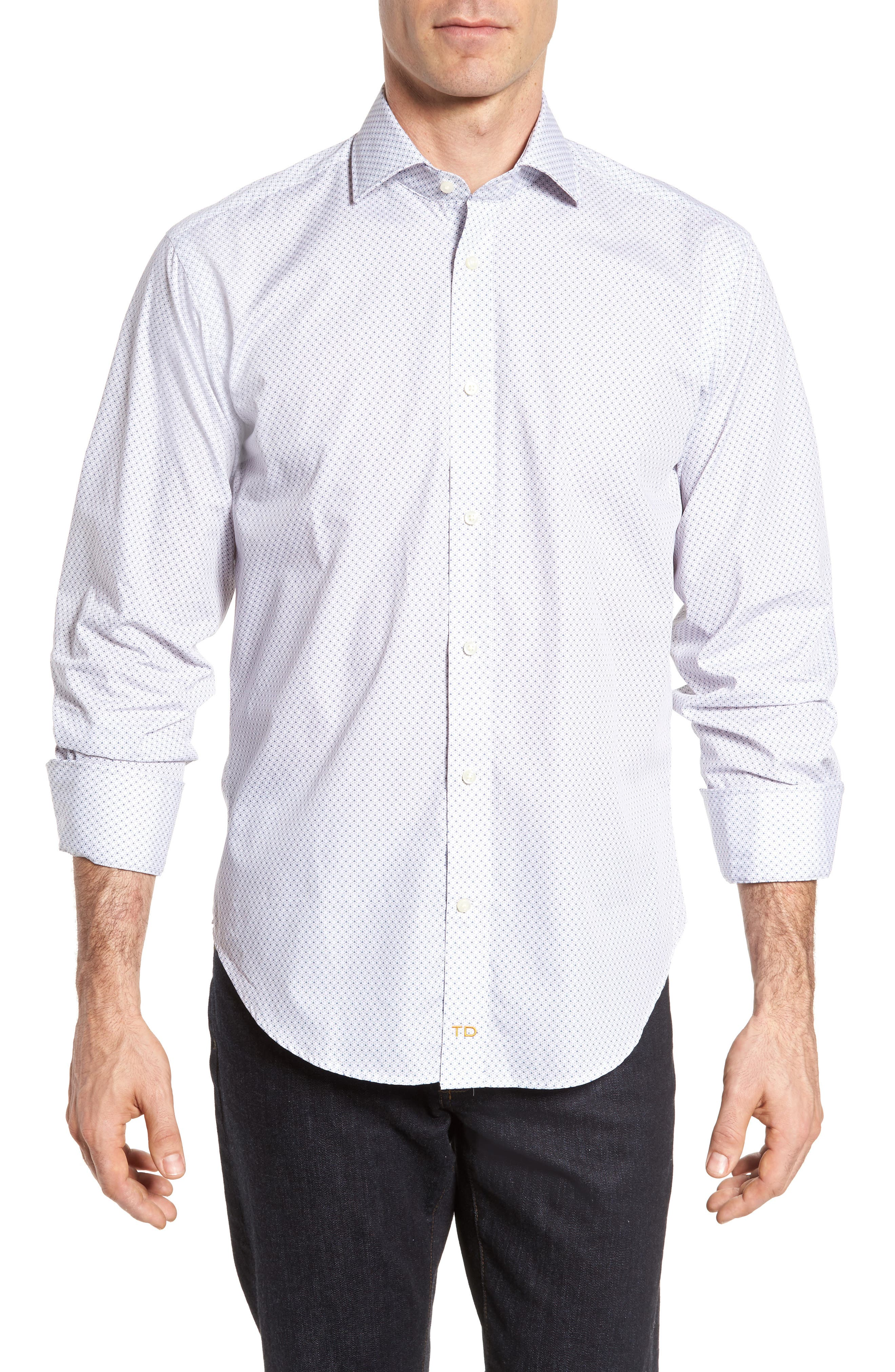 Regular Fit Print Sport Shirt,                         Main,                         color, Grey