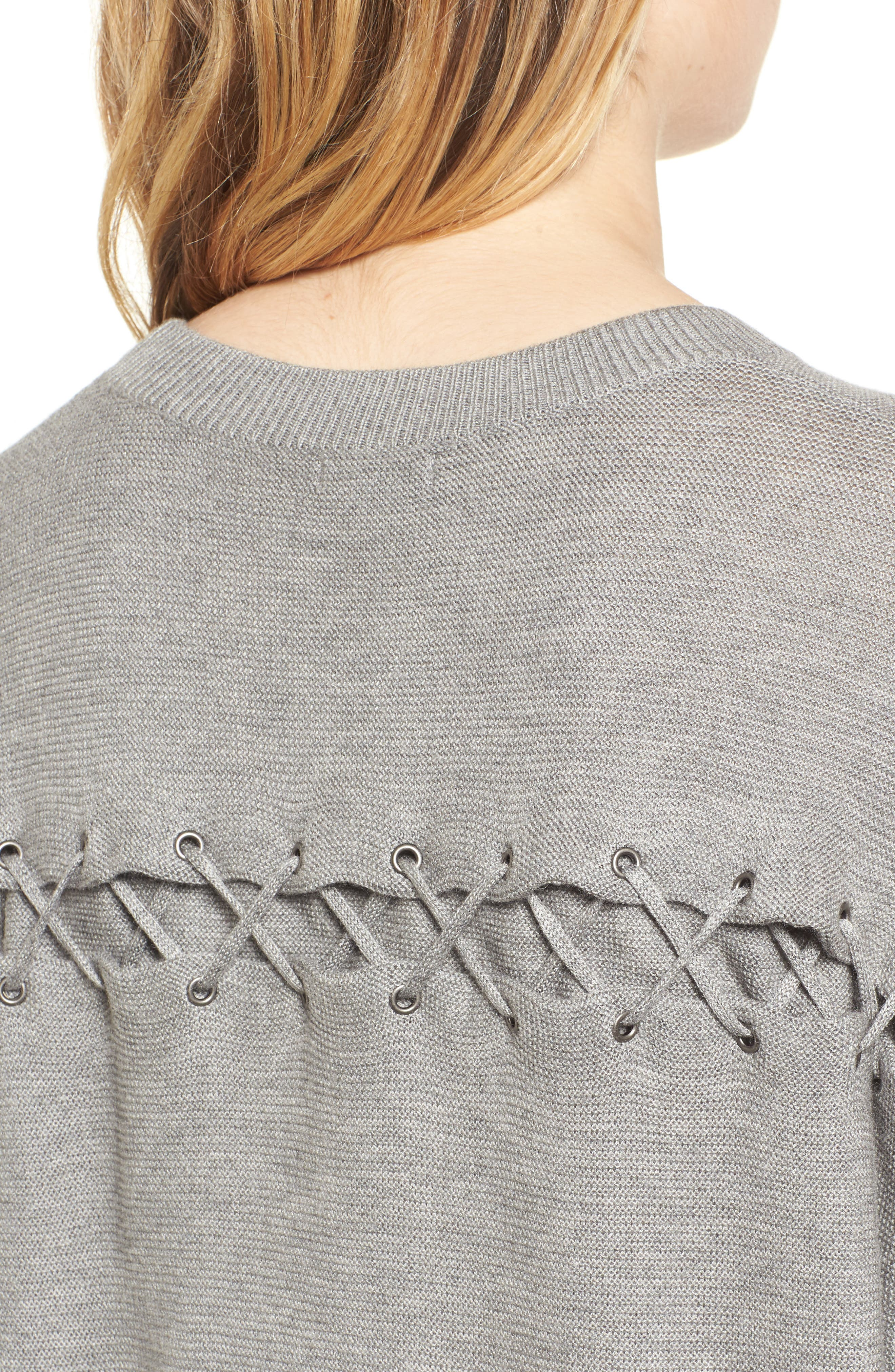 Laced Back Sweater,                             Alternate thumbnail 4, color,                             Slate