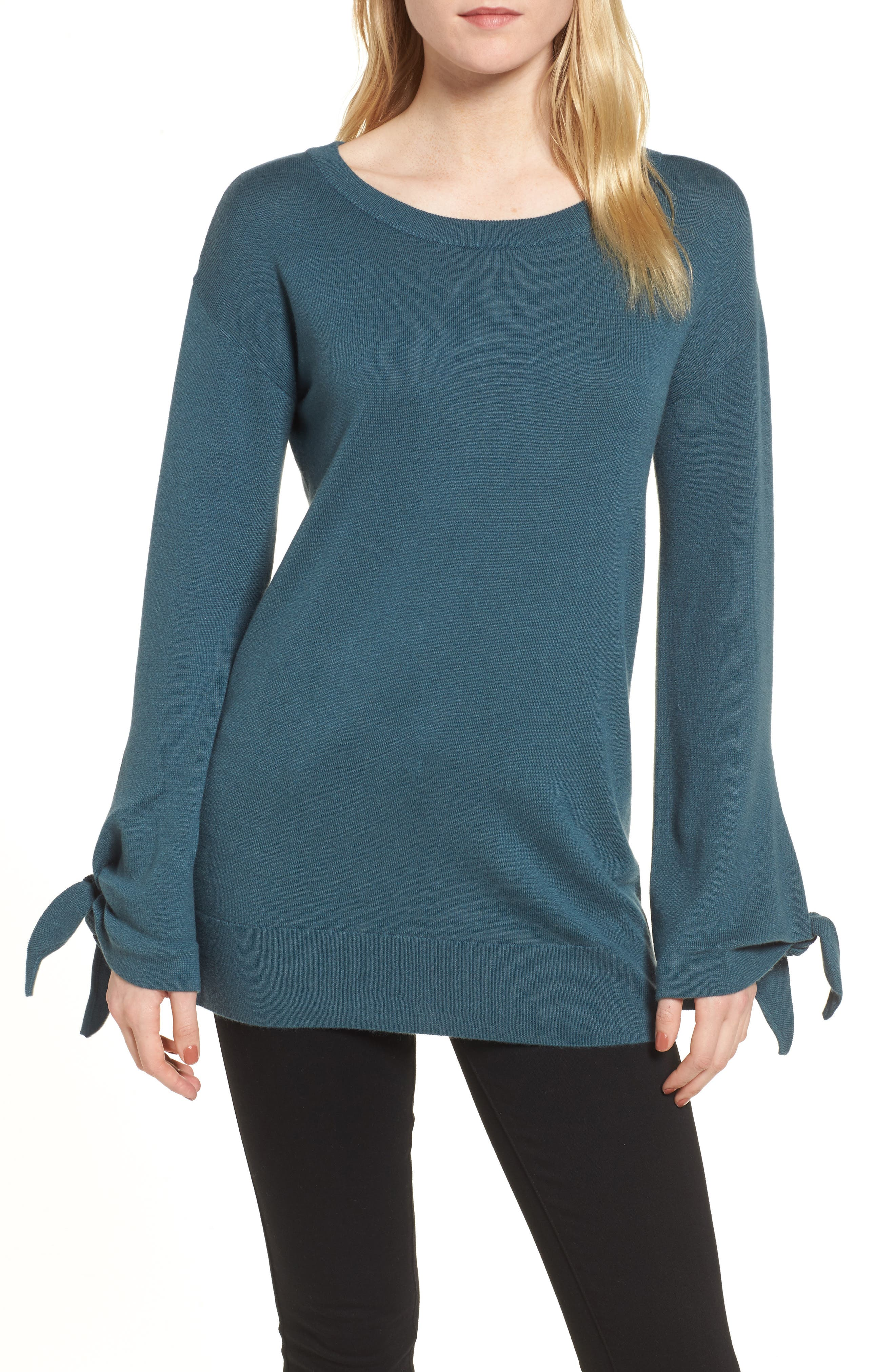 Tie Sleeve Sweater,                             Main thumbnail 1, color,                             Teal Gazer
