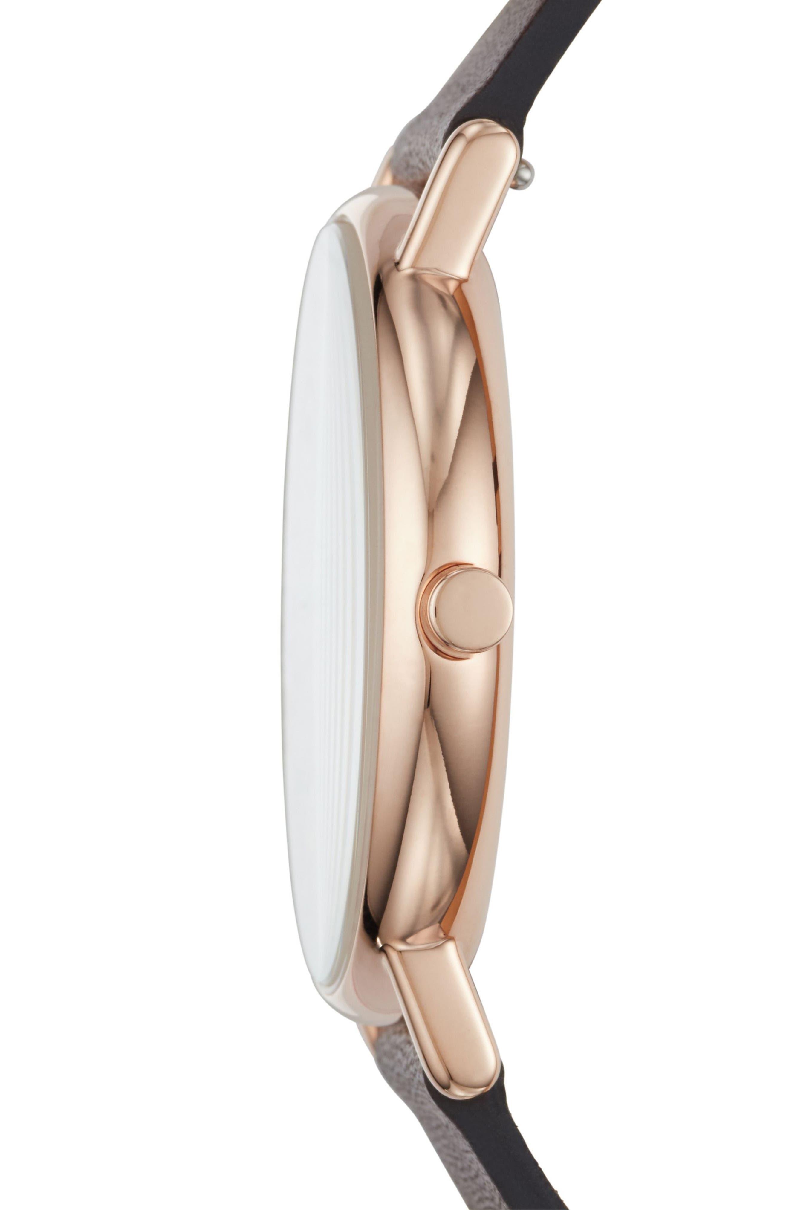 Alternate Image 2  - Skagen Signatur Slim Leather Strap Watch, 40mm