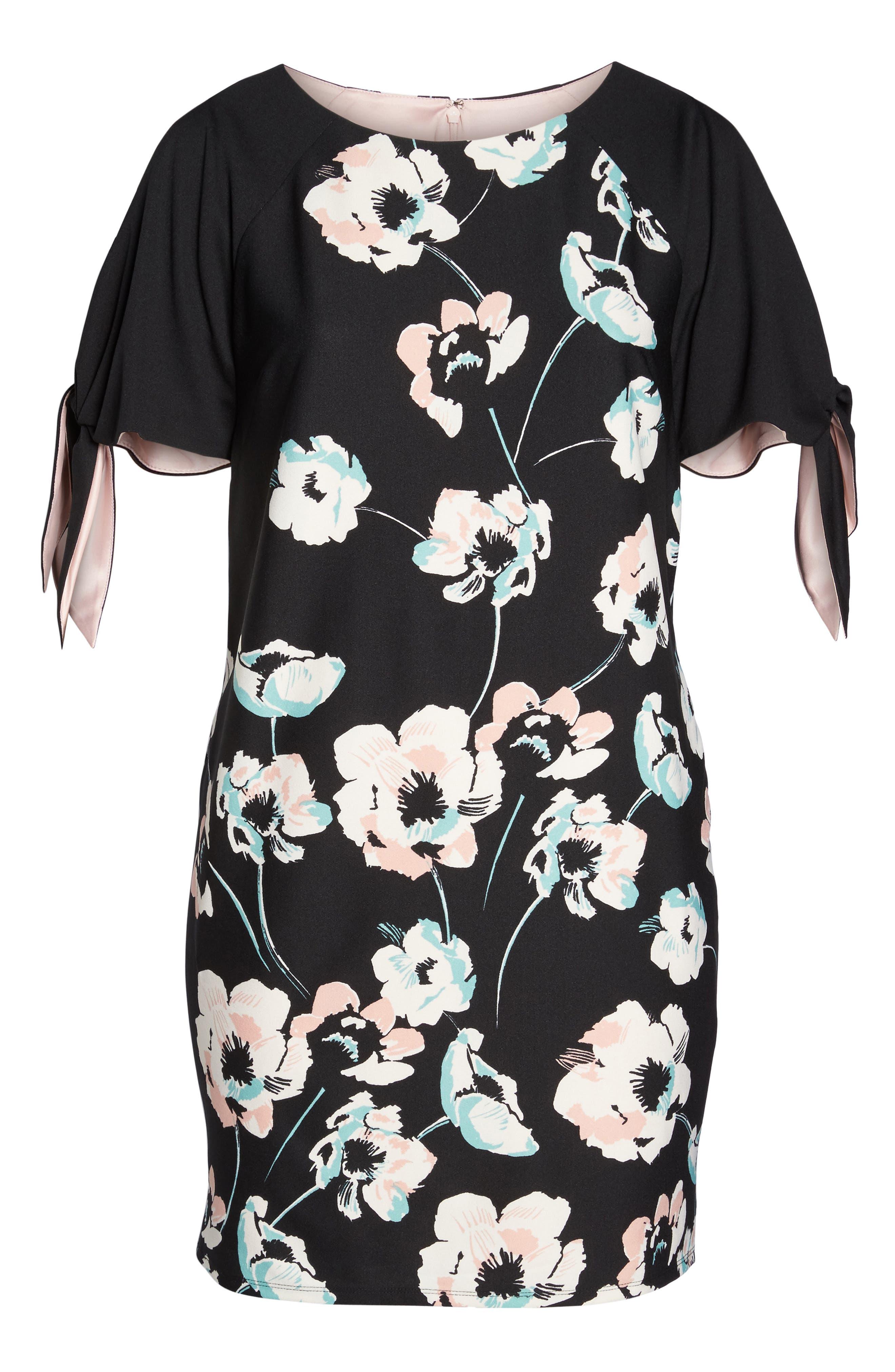 Slit Sleeve Floral Shift Dress,                             Alternate thumbnail 6, color,                             Black