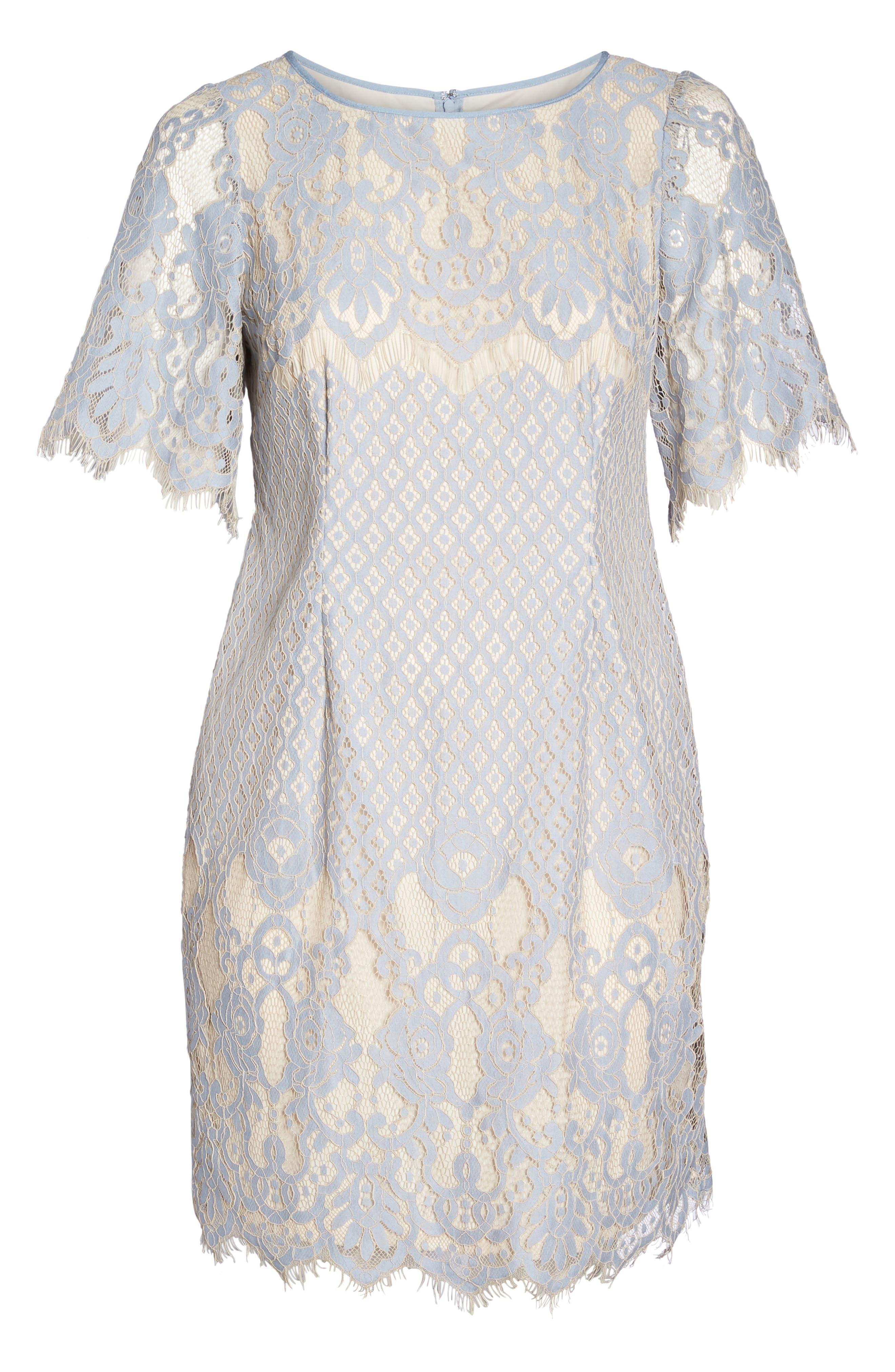 Bell Sleeve Georgia Lace Sheath Dress,                             Alternate thumbnail 6, color,                             Sky/ Cadmium