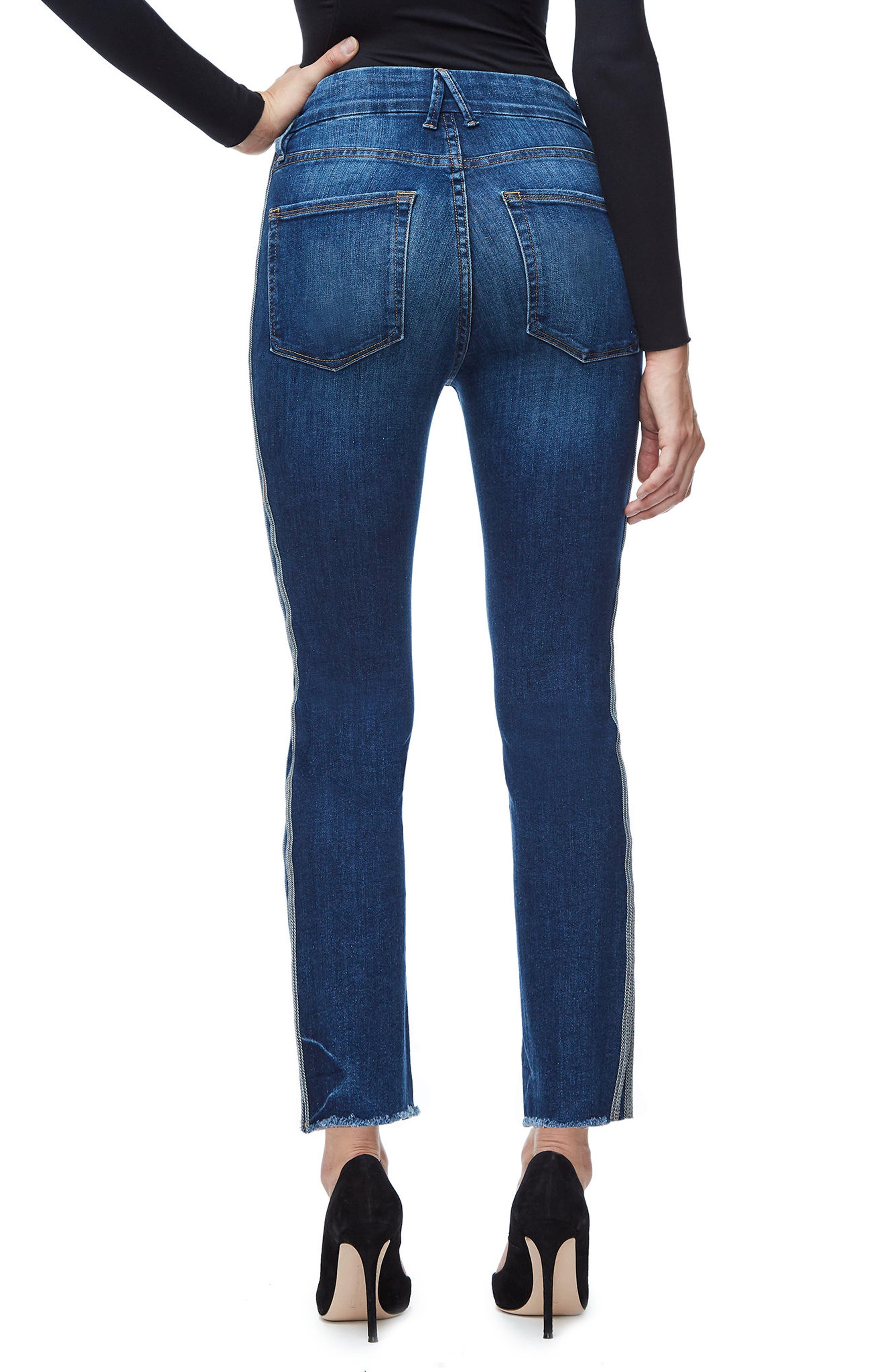 Good Straight Athletic Stripe High Waist Straight Leg Jeans,                             Alternate thumbnail 2, color,                             Blue122